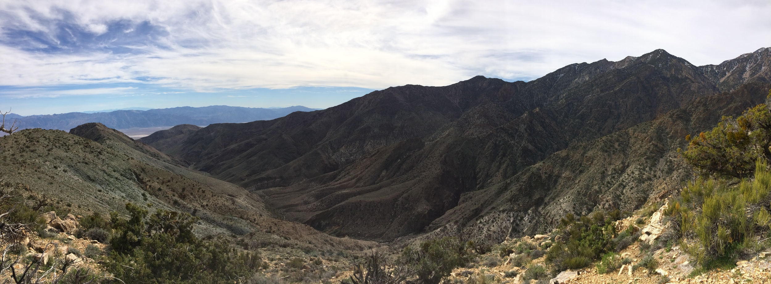 Death Valley, and Hanaupah Canyon, as seen from the Shorty's Well Route, March 2015