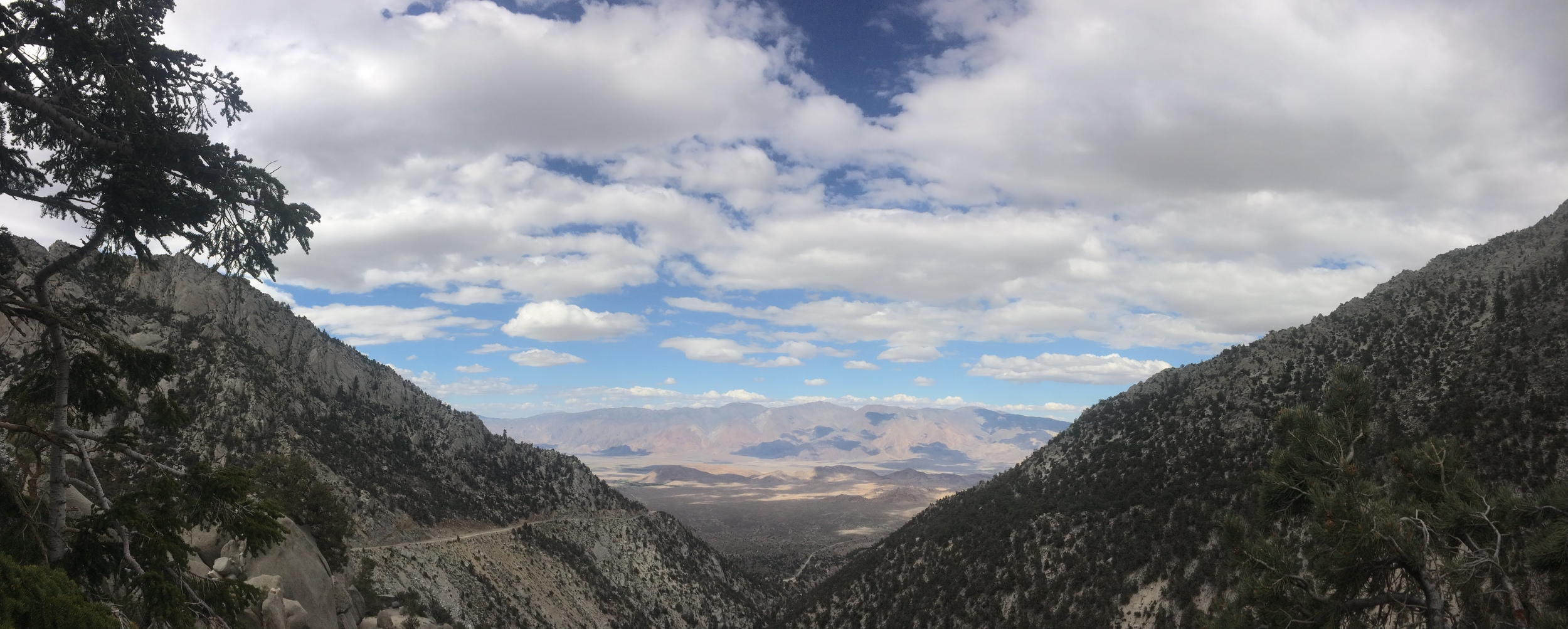 Looking back to the Owens Valley from the start of the Meysan Lake Trail, June 2015