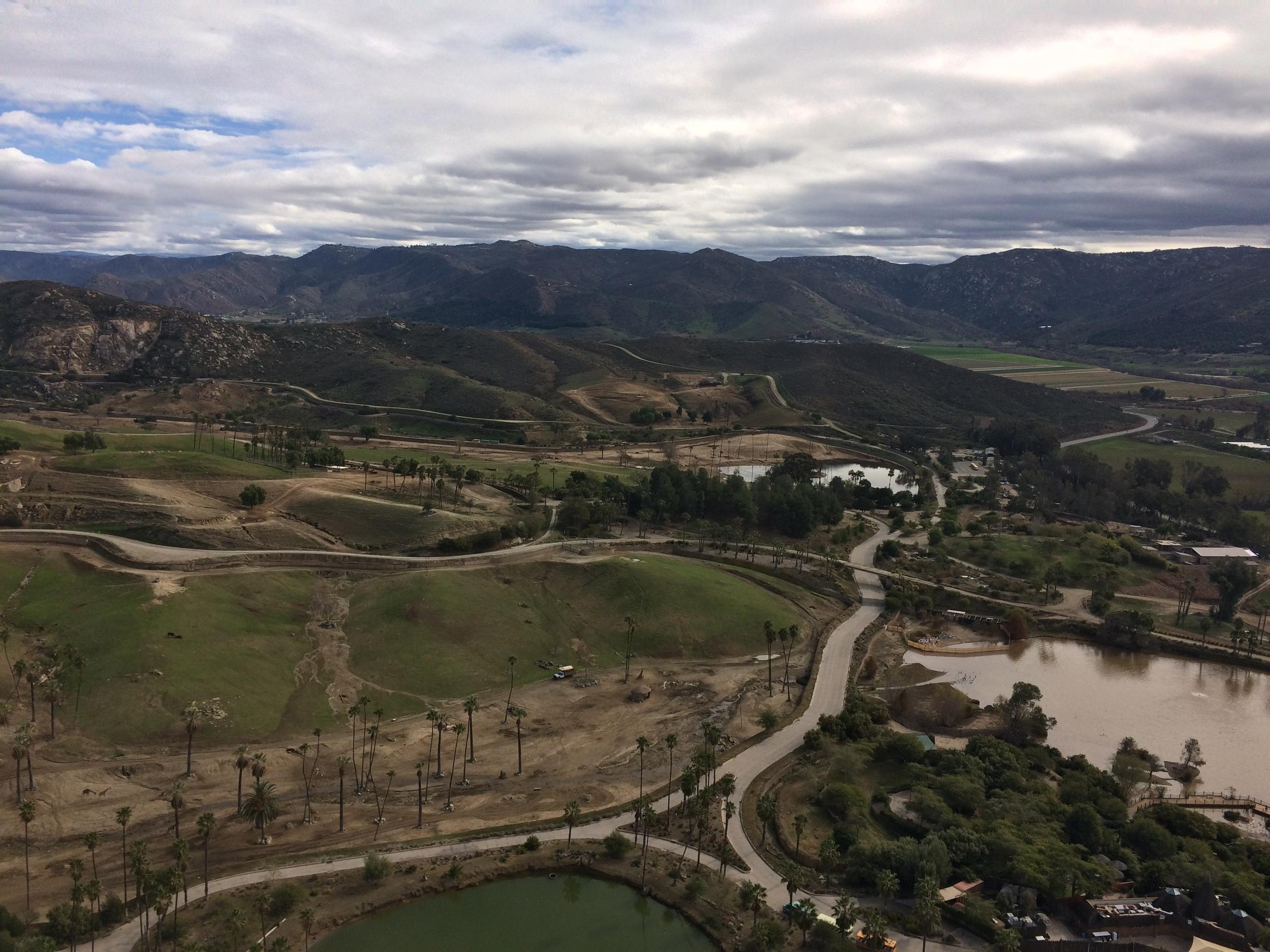 Looking down at the San Diego Safari Park from the Safari Balloon