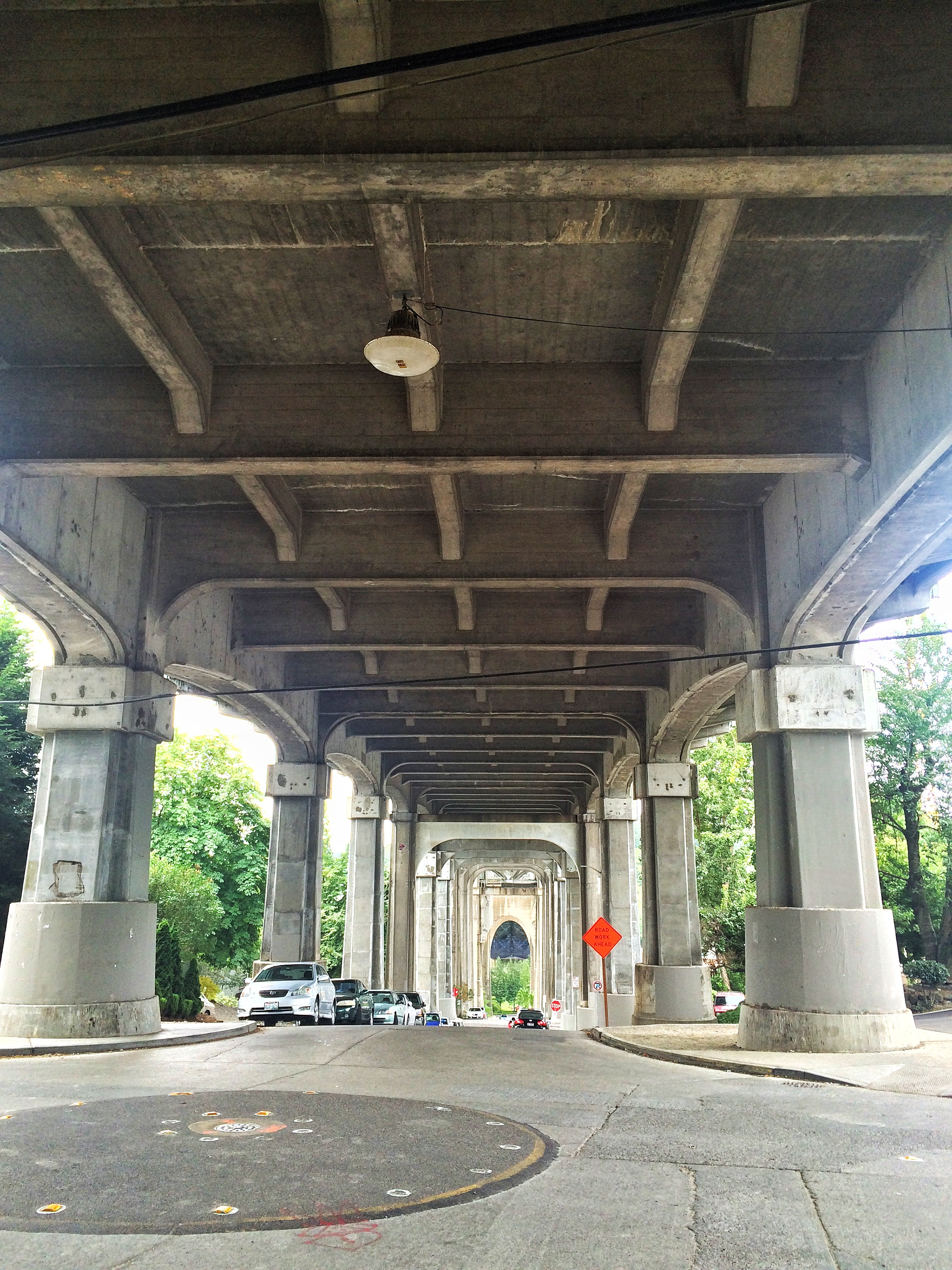Troll Avenue, looking up at the Aurora Bridge