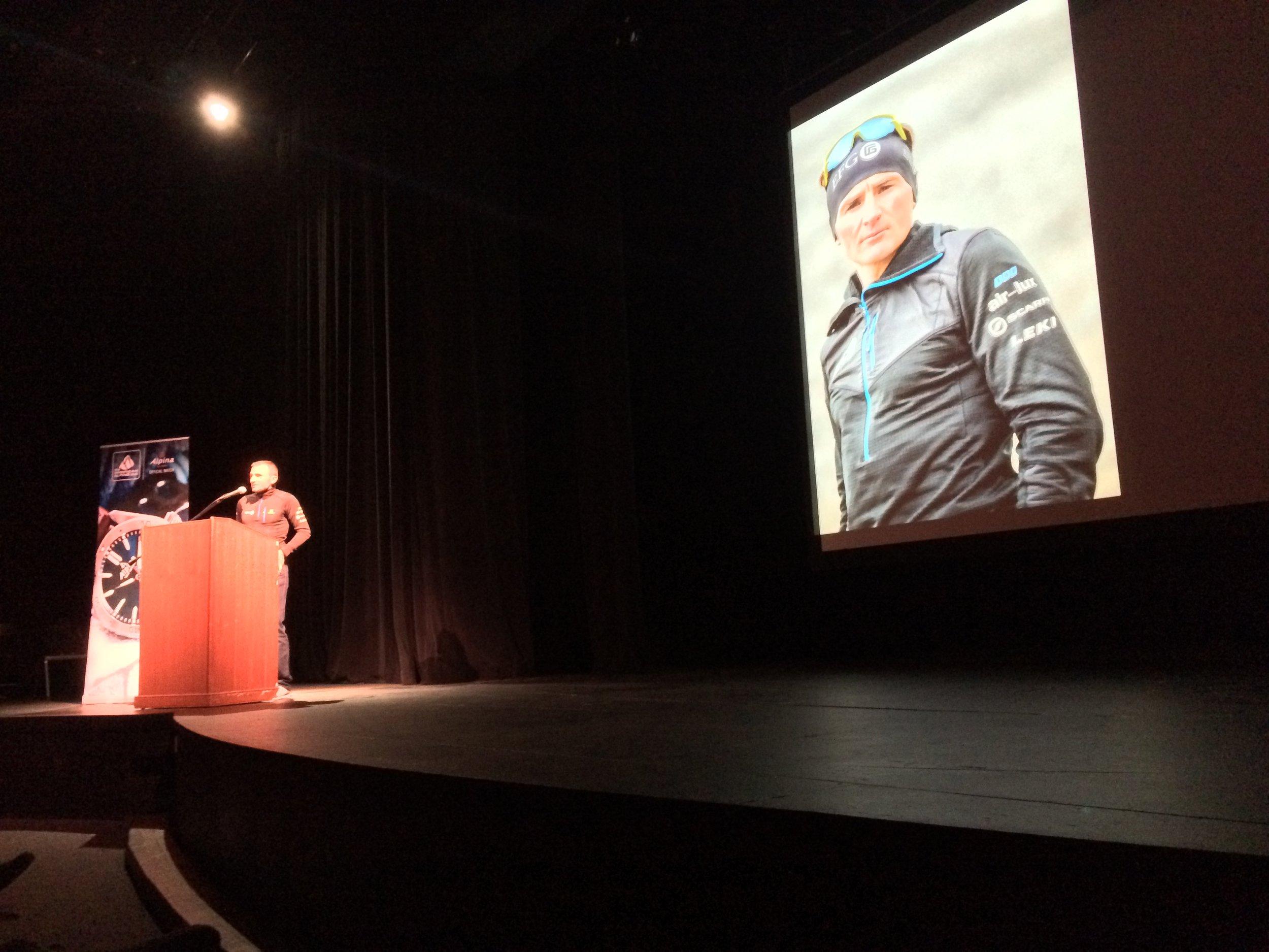 Ueli Steck, speaking during the American Alpine Club 2016 Athlete Tour