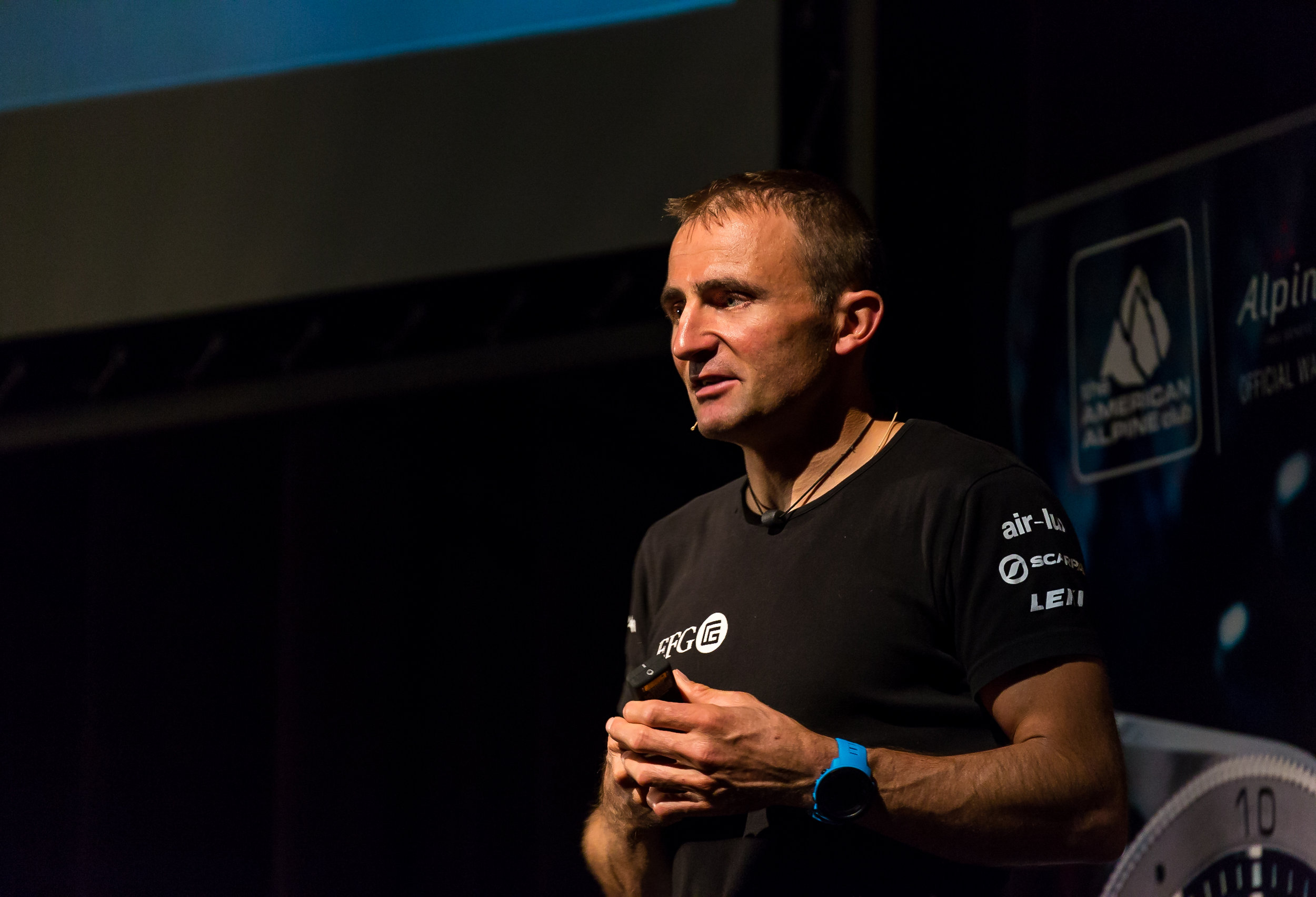 Ueli Steck speaking on the 2016 American Alpine Club's National Athlete Tour, presented by Alpina Watches. PC: Craig Hoffman