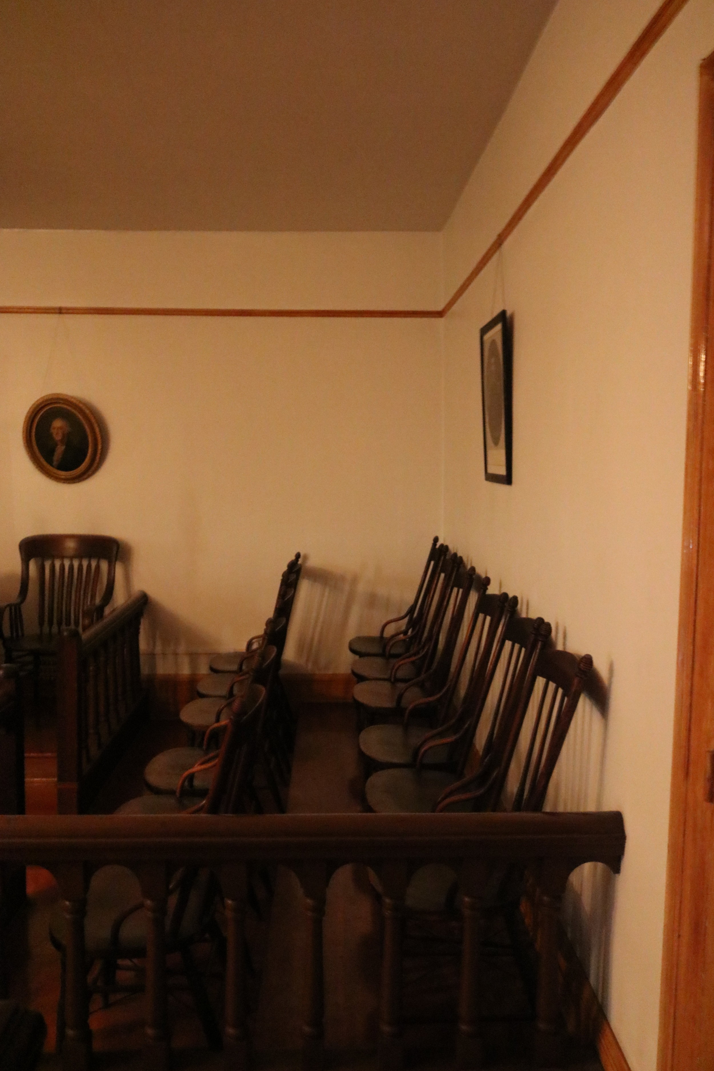 """The Jury Box at the Whaley House Courtroom. Popular legend states that there is an """"energy vortex"""" in this spot."""