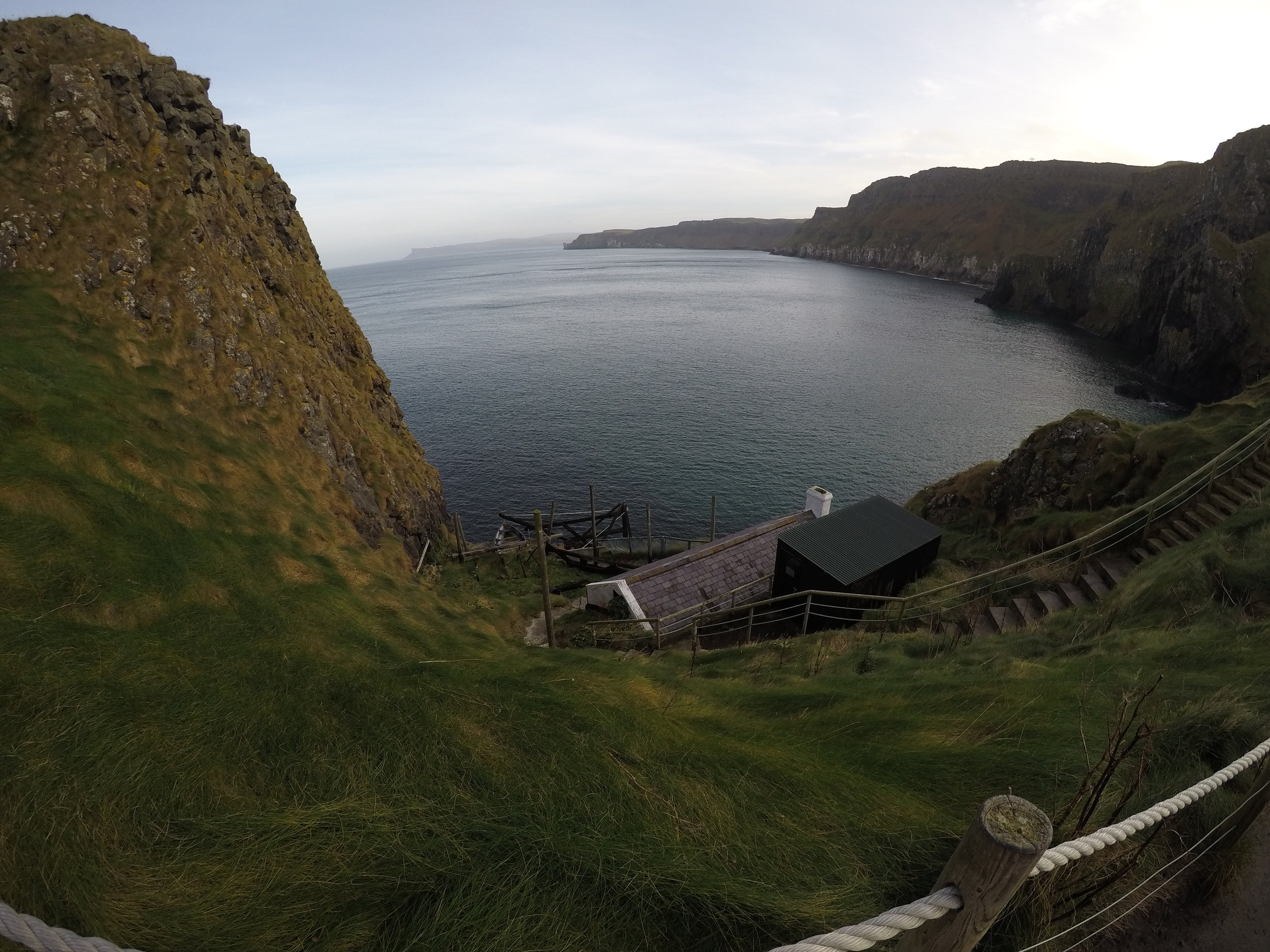 The bridge leads to Carrick-A-Rede Island, which has the remains of the fishery where the bridge once led.
