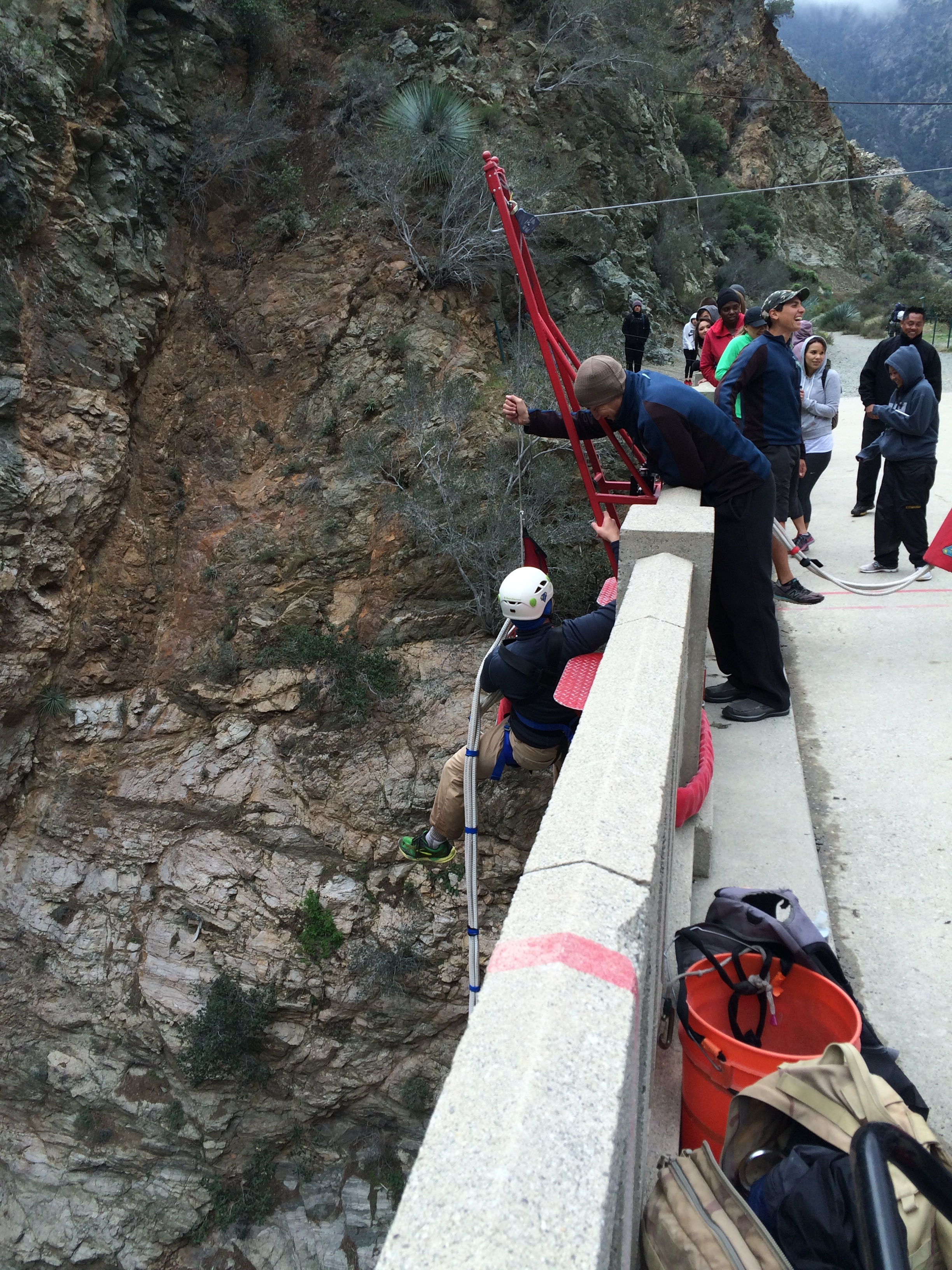 Once the jump is over, Bungee America staff assist jumpers back onto the platform and the bridge.