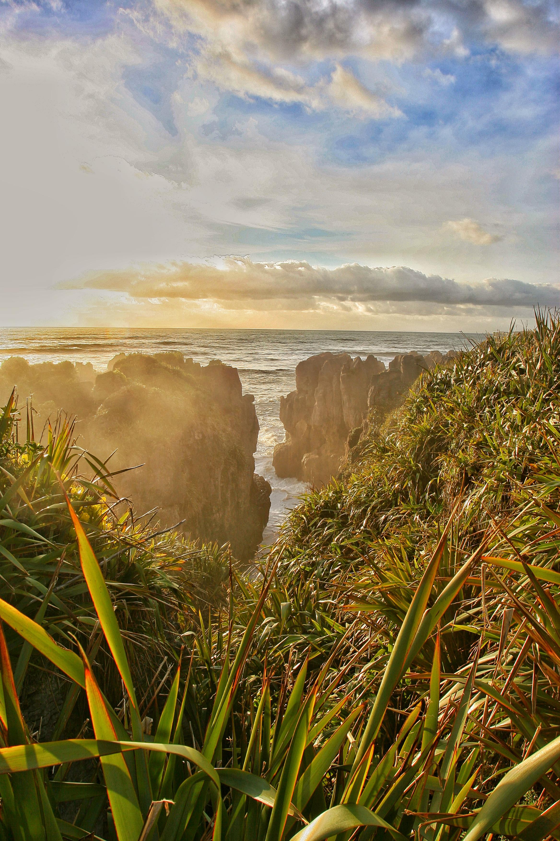The Pancake Rocks are a coastal limestone feature within Paparoa National Park