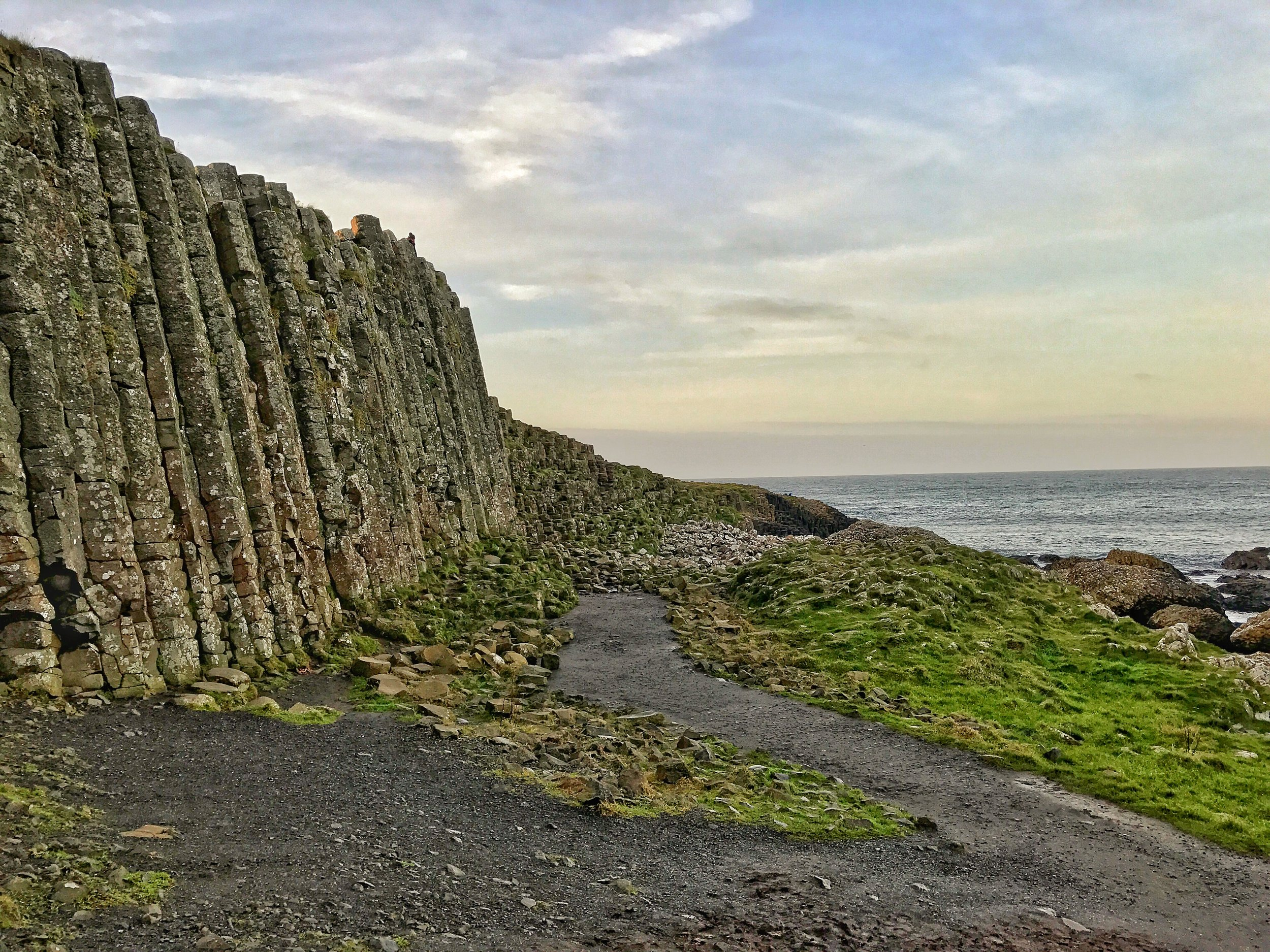 The basalt pillars extend from the Causeway and along through the land owned by the National Trust.