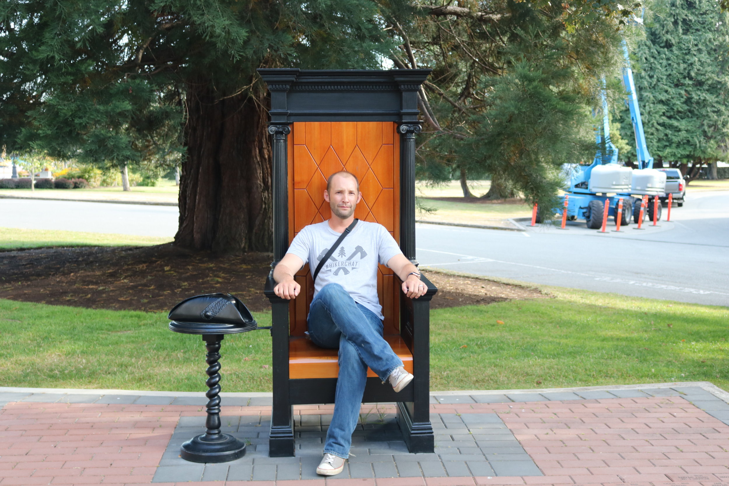The replica Speaker's Chair provides great photo opportunities, but captures the discomfort of the original perfectly.