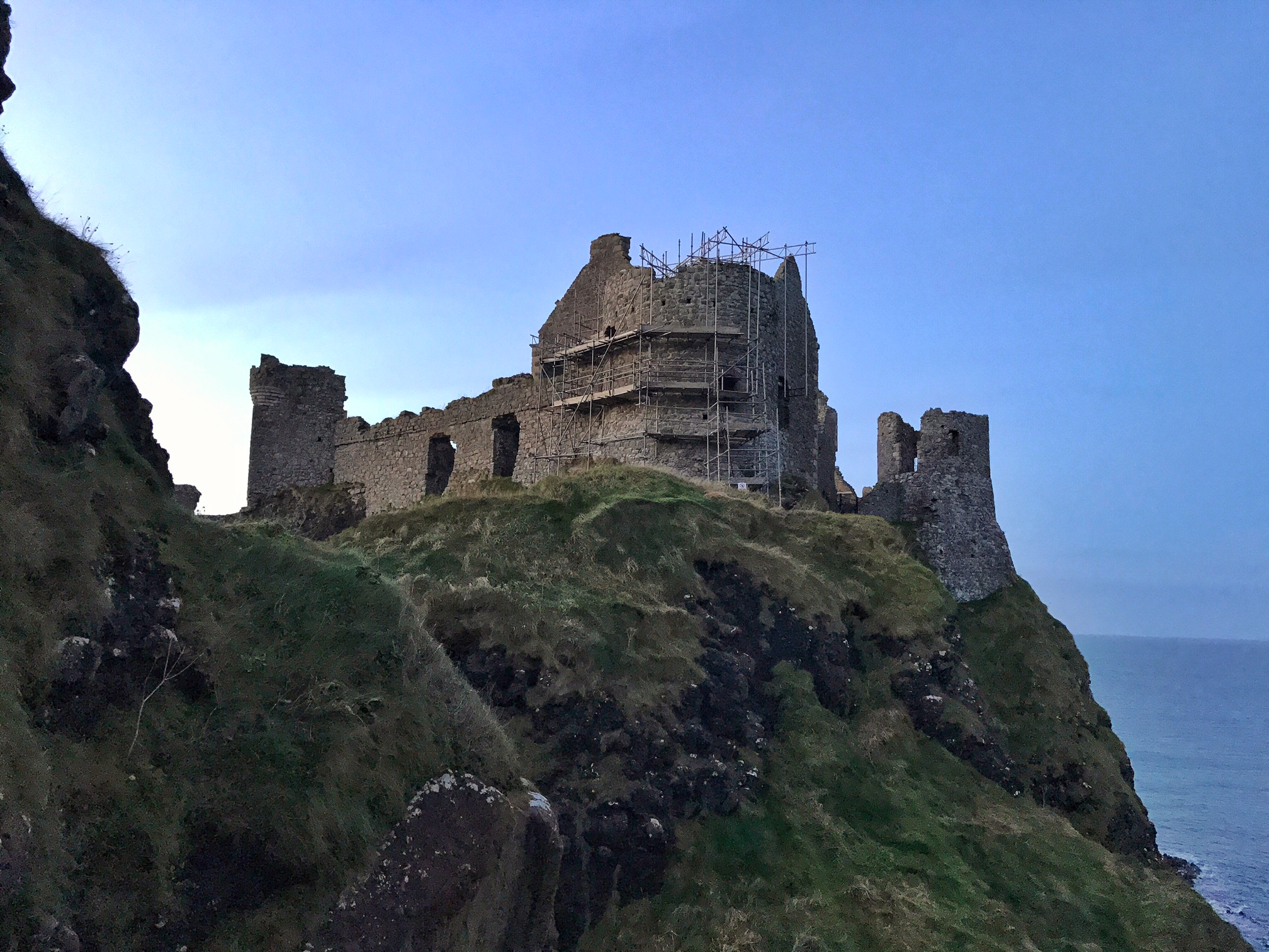 The castle sits 100 feet above the ocean, and also rests above a large sea cave.