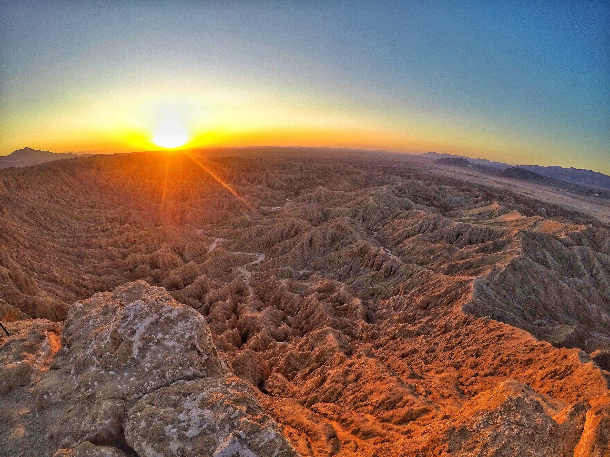 The 1,253 high point has great views of the Borrego Badlands, and the majority of the state park.