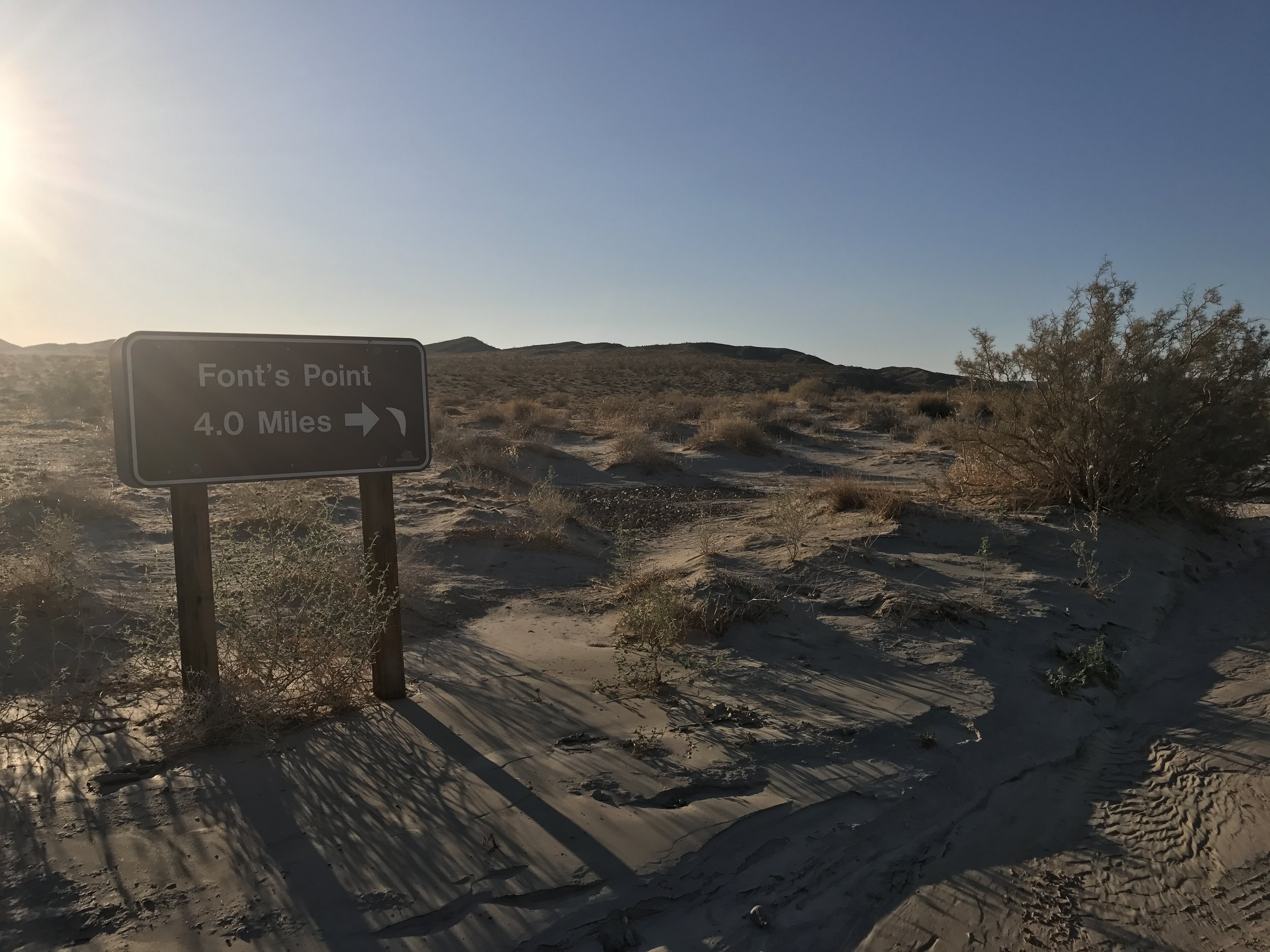 To get to Font's Point, one must either hike, or drive off-road for over four miles.