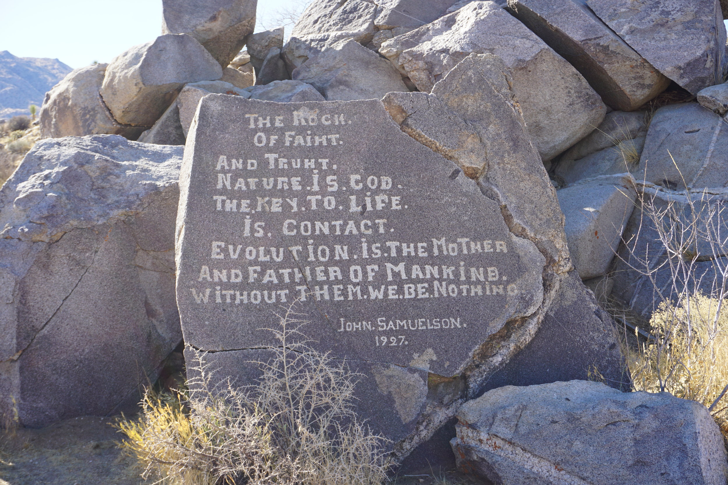 John Samuelson was an interesting character, whose story remains his enduring legacy, along with the rocks he carved.