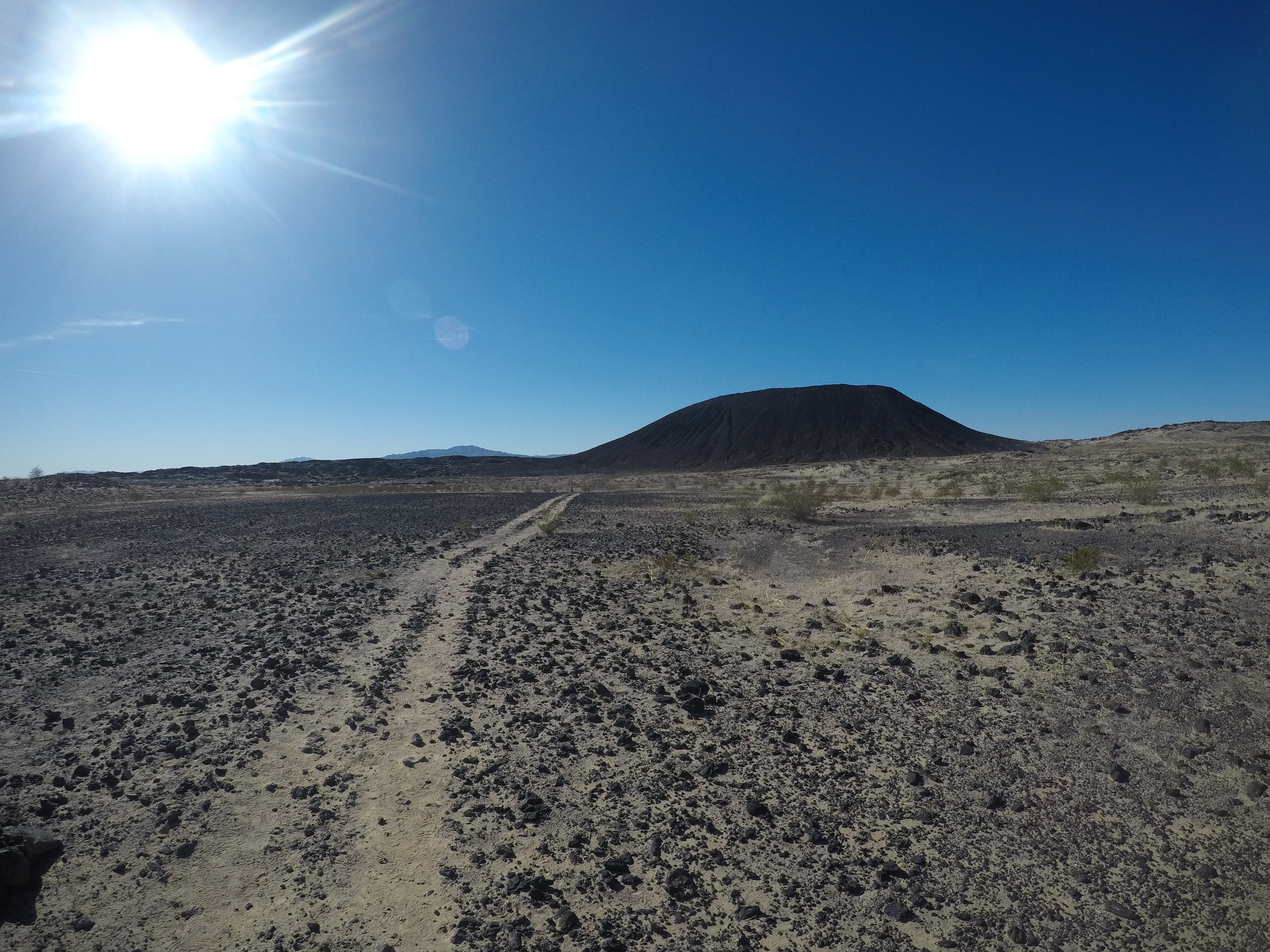 The Amboy Crater is actually a cinder cone volcano in the middle of the Mojave Desert.
