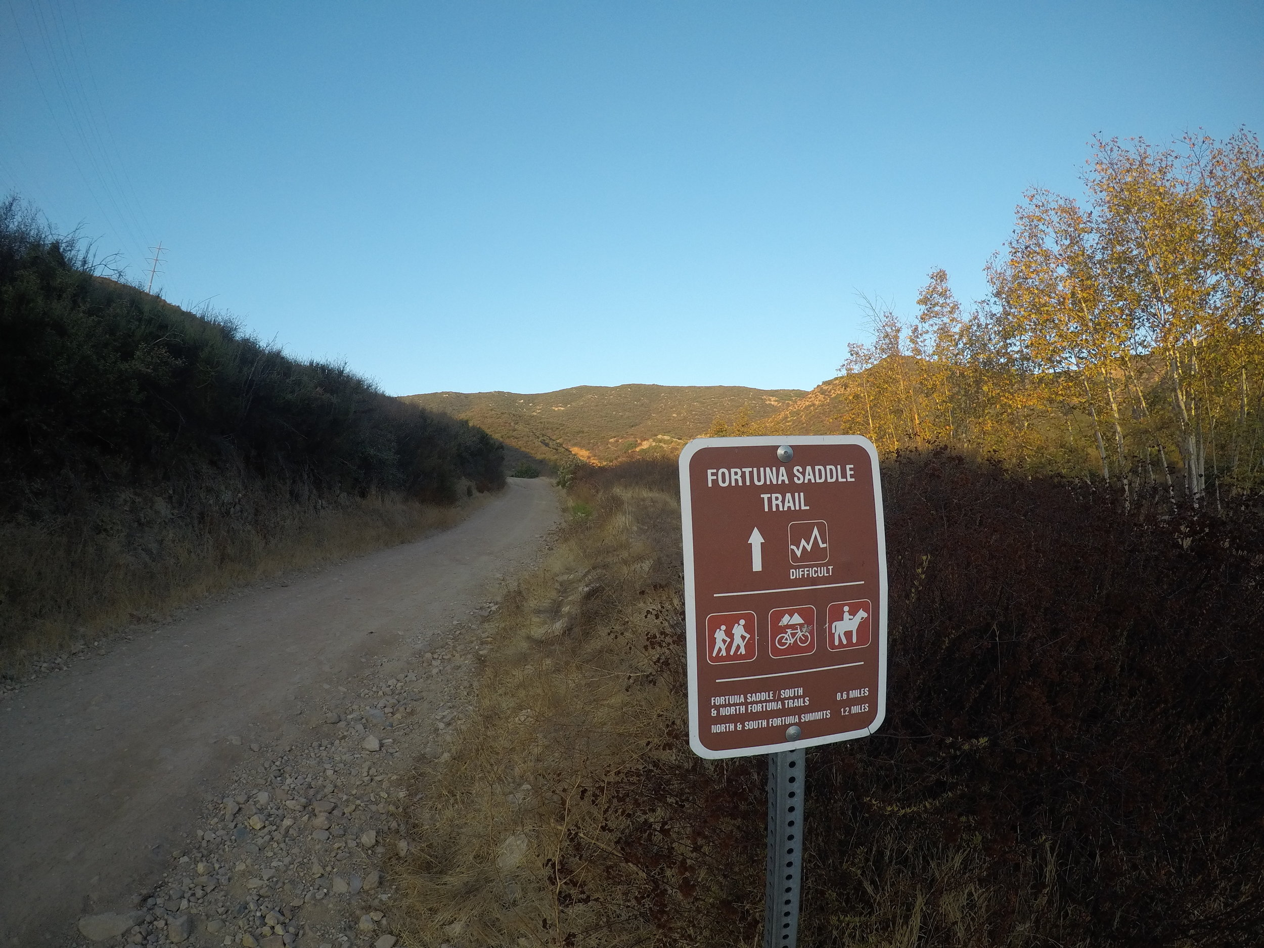 From Oak Canyon, the trail ascends up a steep fire access road toward the Fortuna Saddle.