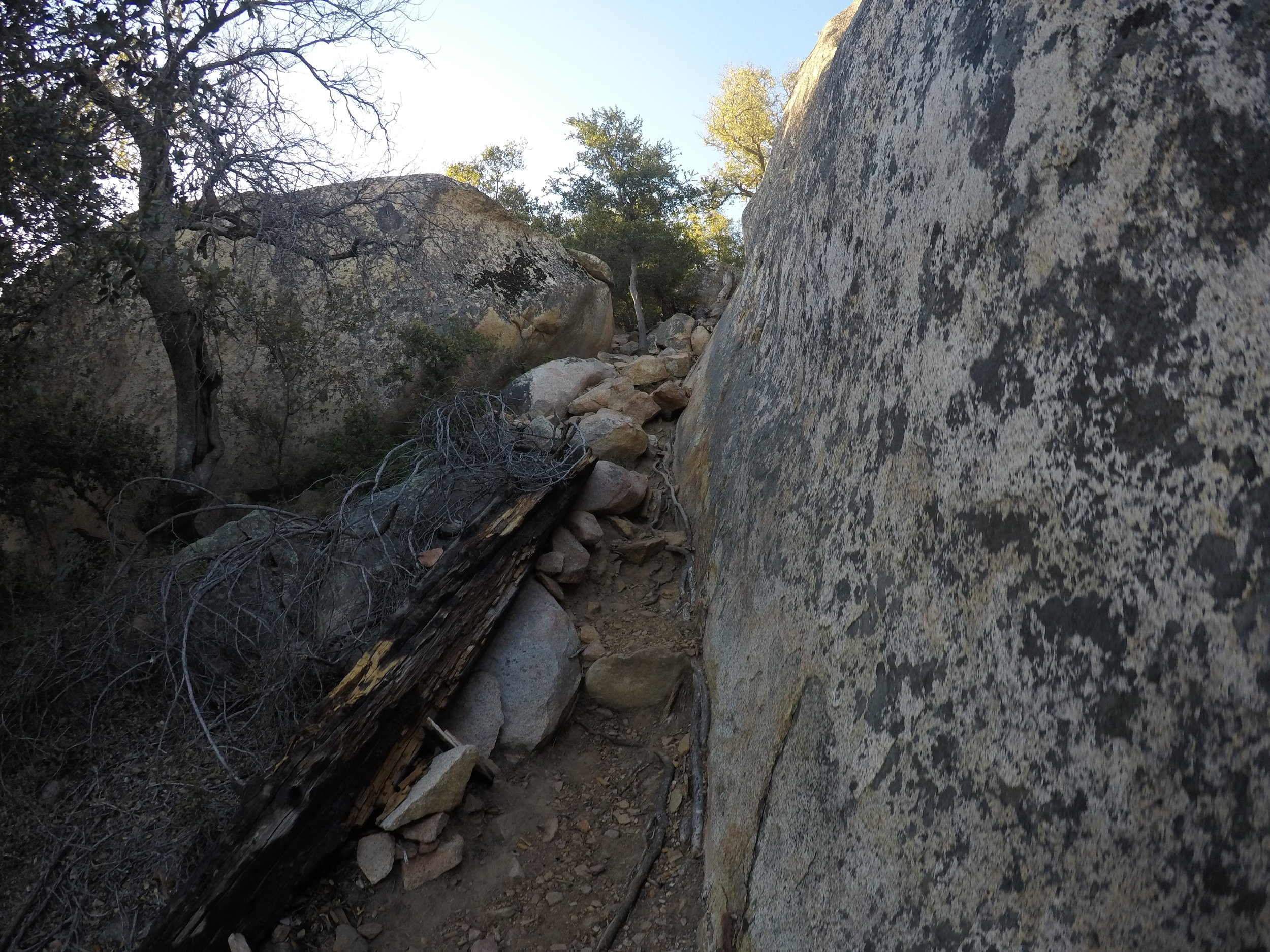 At 2.5 miles in, there is a steep descent past a number of boulders, but it is passable without any technical knowledge or much scrambling.