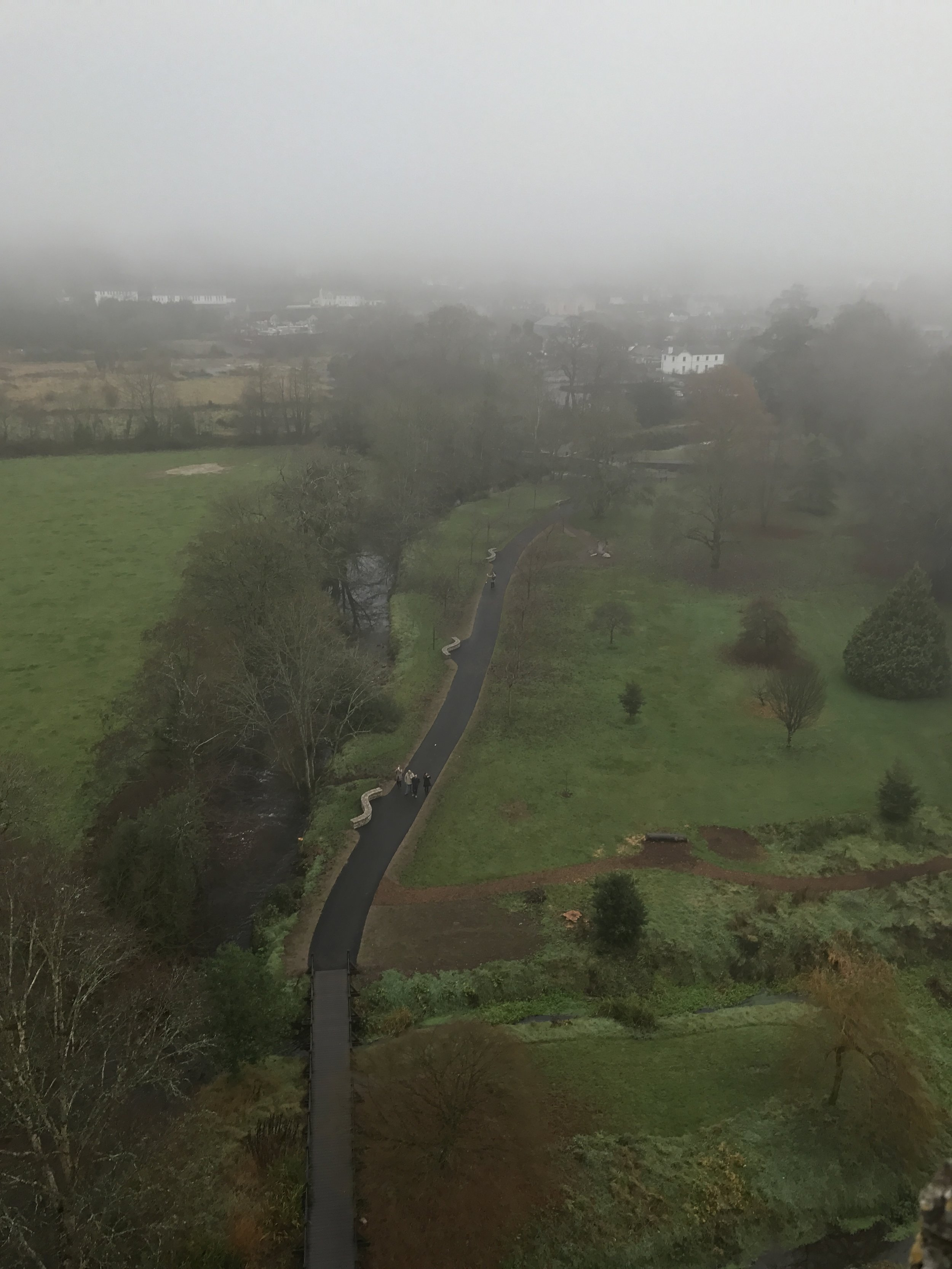 From the battlements of the castle, you will have amazing views in all directions. You will also have to hang a little upside down eighty-five feet above the ground to kiss the Blarney Stone.