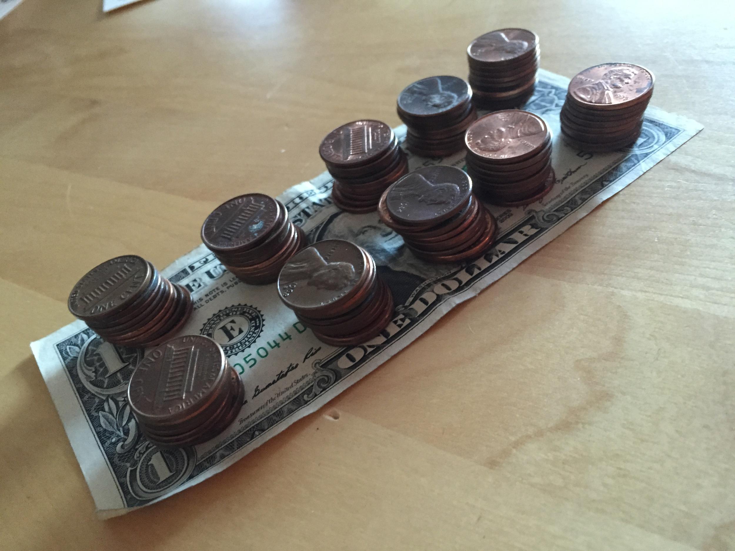 Ten Stacks of Ten Pennies = $1.00