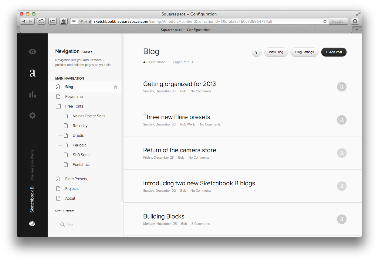 The interface for making changes to the navigation, adding blog posts, gallery items, etc.