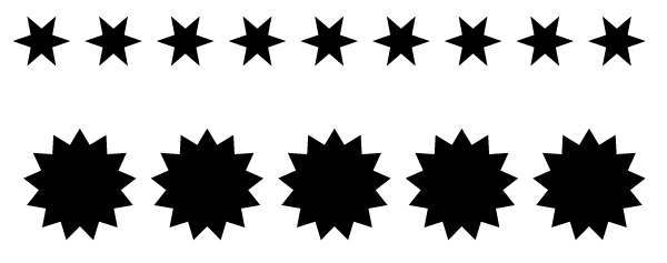 A couple of rows of shapes created with the arrow keys.
