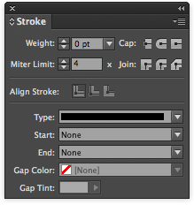 In the middle of the Stroke palette are the Align Stroke options.