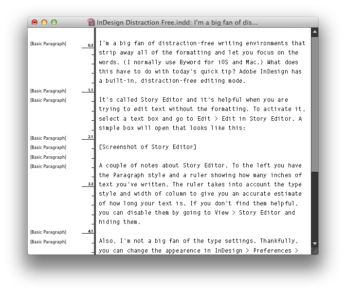The default Story Editor in InDesign.