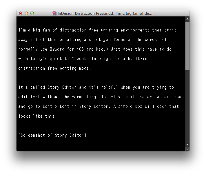 Slightly customized Story Editor.