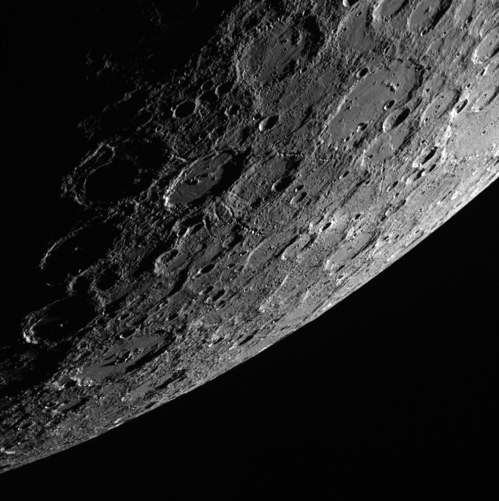 Speaking of MESSENGER, check out this awesome shot of the sunlit side of Mercury.  B.E.A.U.T.I.F.U.L. Photo credit: NASA.