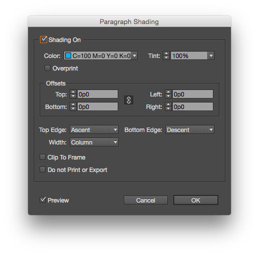 The full paragraph shading dialog box offers more options.