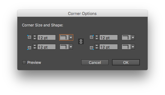 Set the amount and style of your corner effects with the corner options dialog box. Uncheck the chain icon to set corners independently.