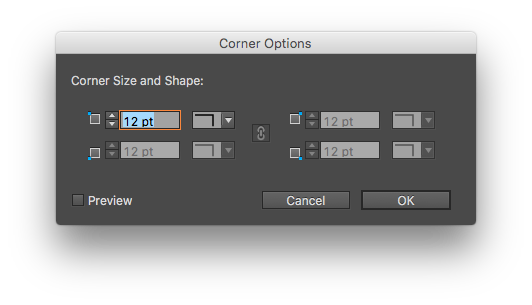 Try to change the corner size or shape on a shape other than a rectangle and all but one input field is faded out.