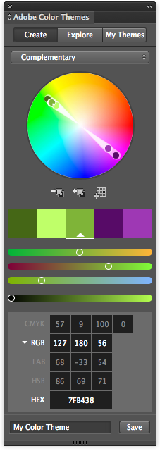 The Color Theme palette in Indesign CC 2015