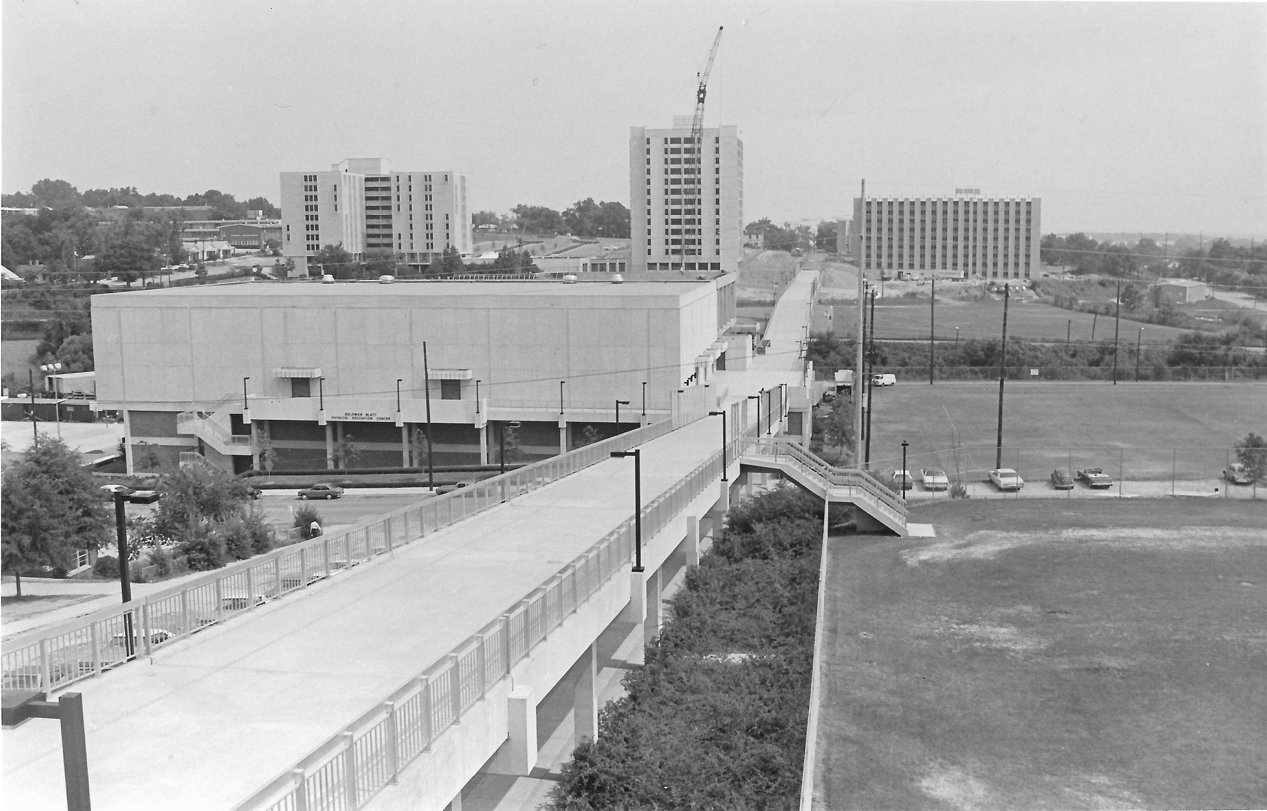 The south side of the University of South Carolina's campus under construction in the early 1970s.