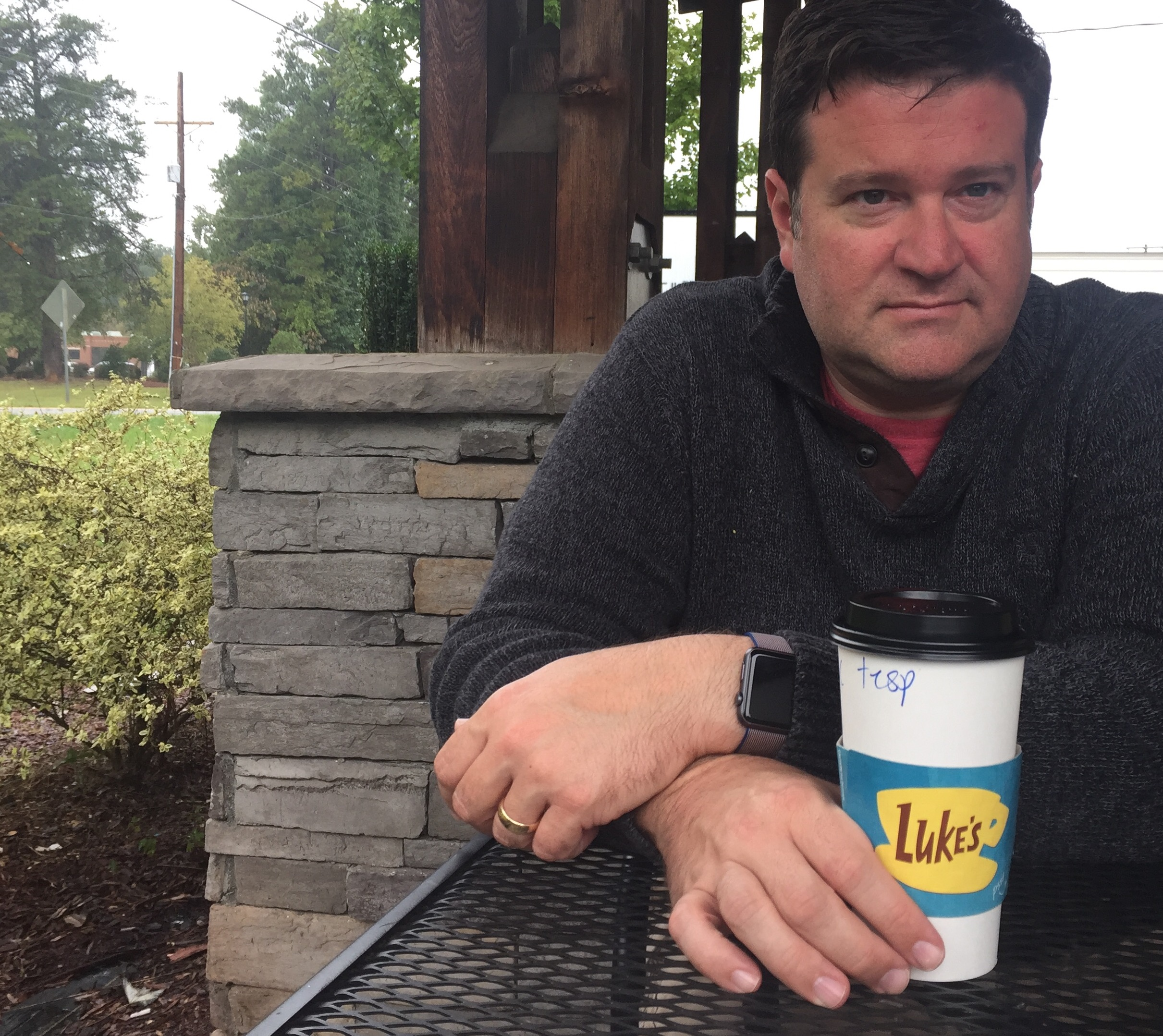 My serious coffee face, with A Luke's cup.