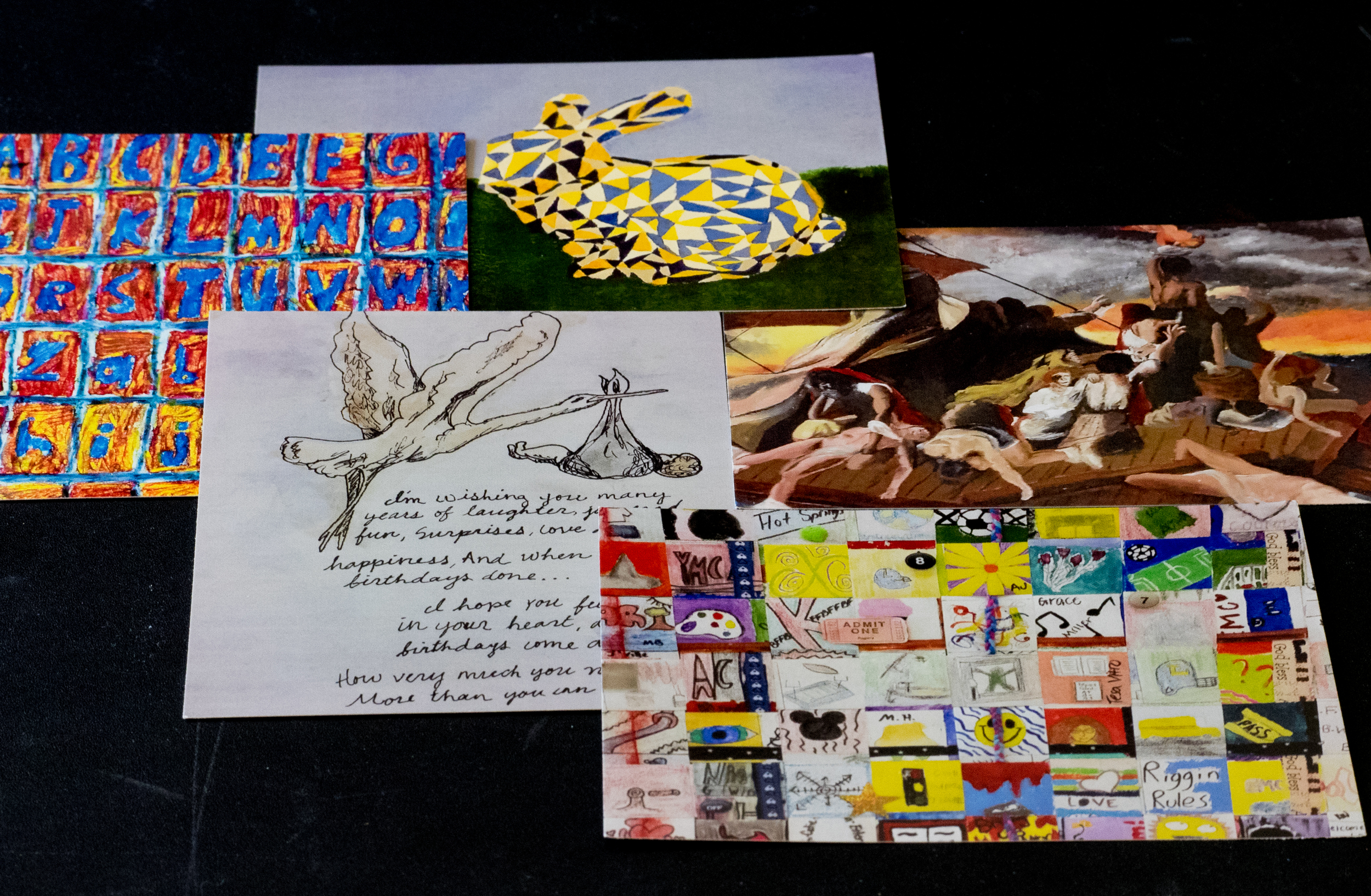 Postcards made by students. Photo: Susan Pigott