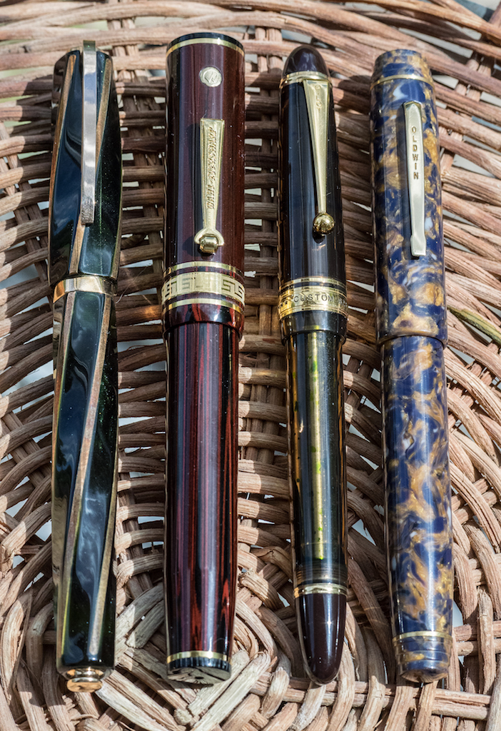 Left to right: Visconti Divina Elegance, Wahl-Eversharp Decoband, Pilot Custom 823, and Oldwin