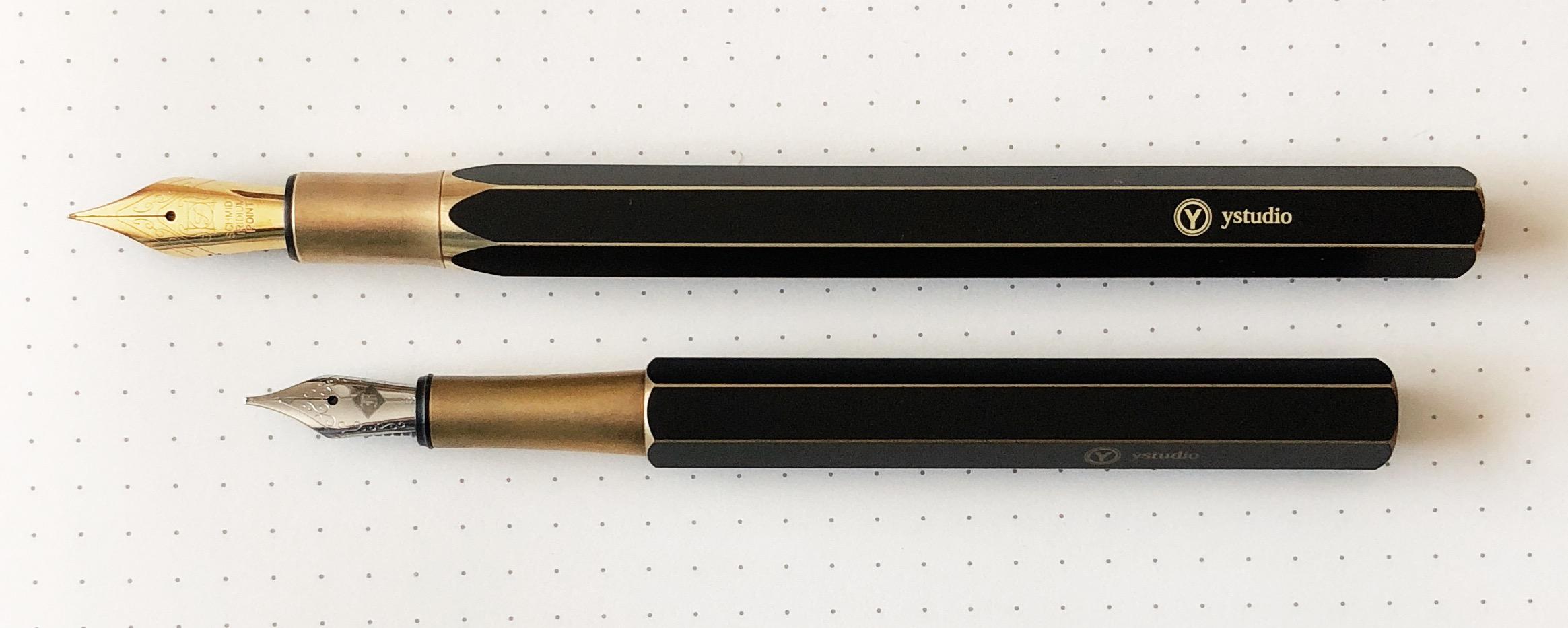 ystudio Brassing Desk vs Standard Fountain Pen