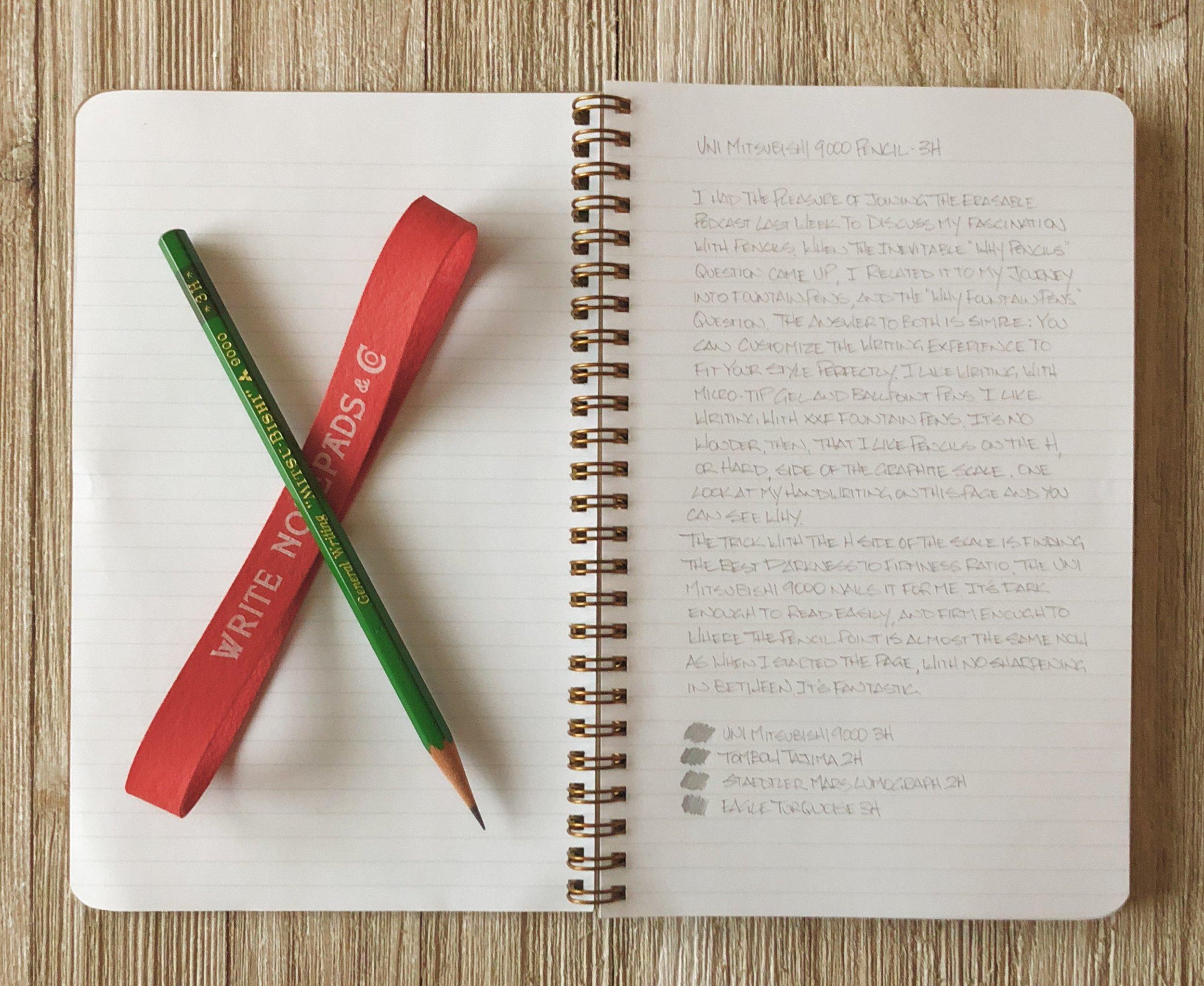 Uni Mitsubishi 9000 3H Pencil Sample