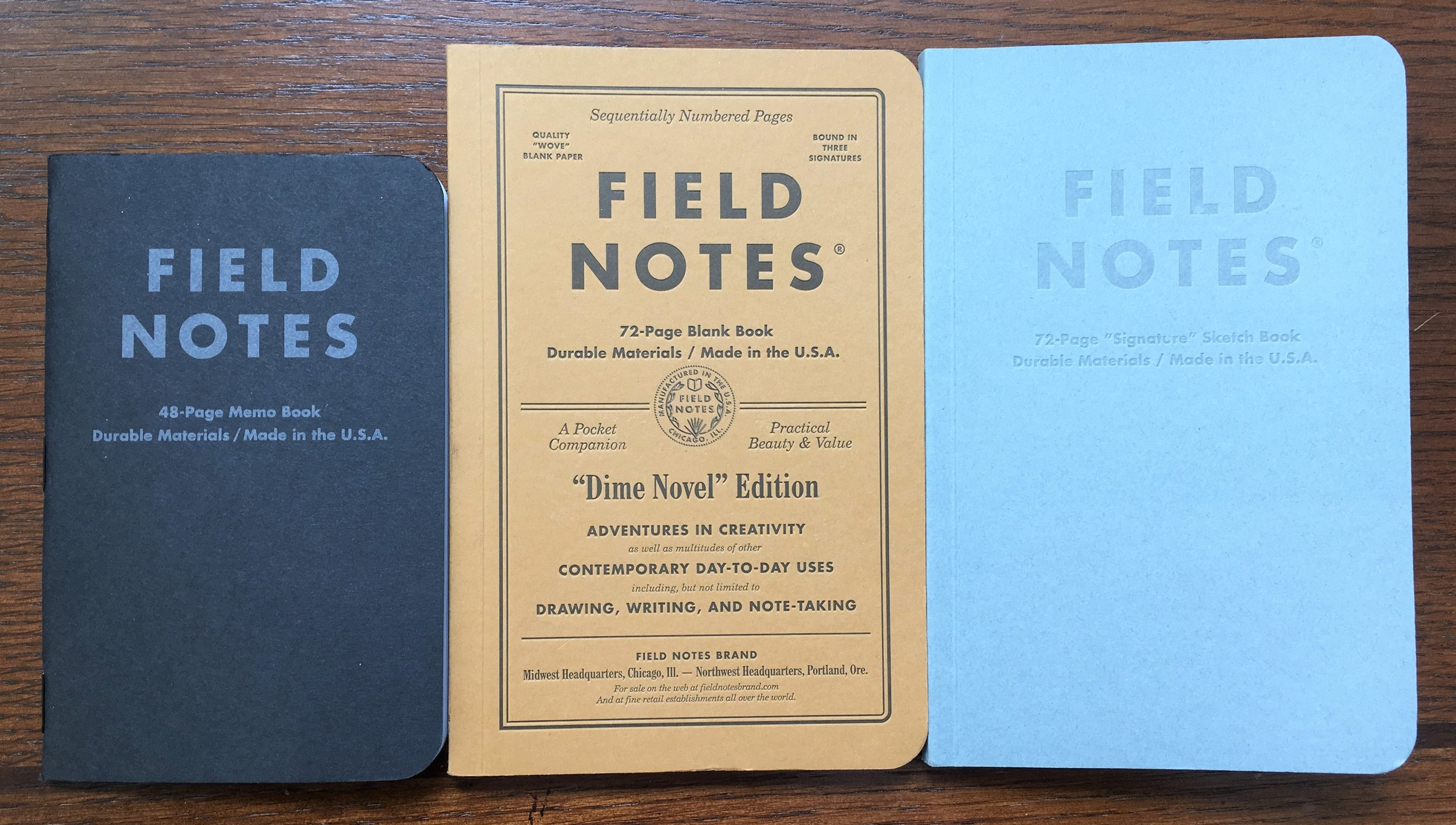 Field Notes Signature Sketch Book Comparison