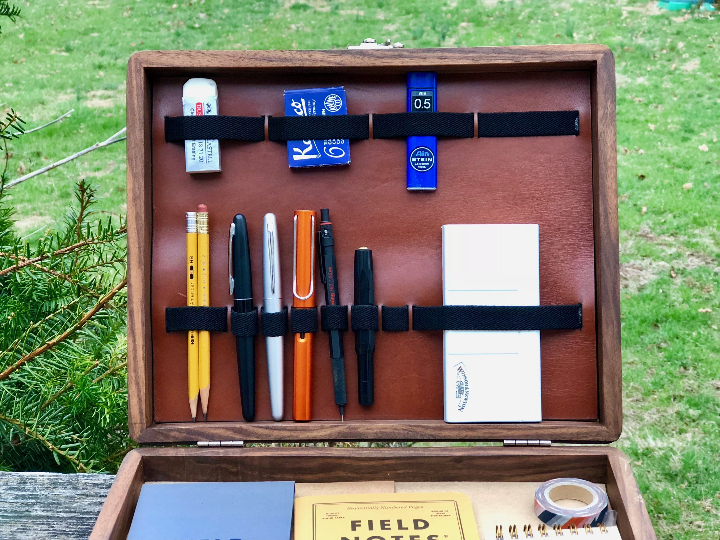 Galen Leather Writing Box Open