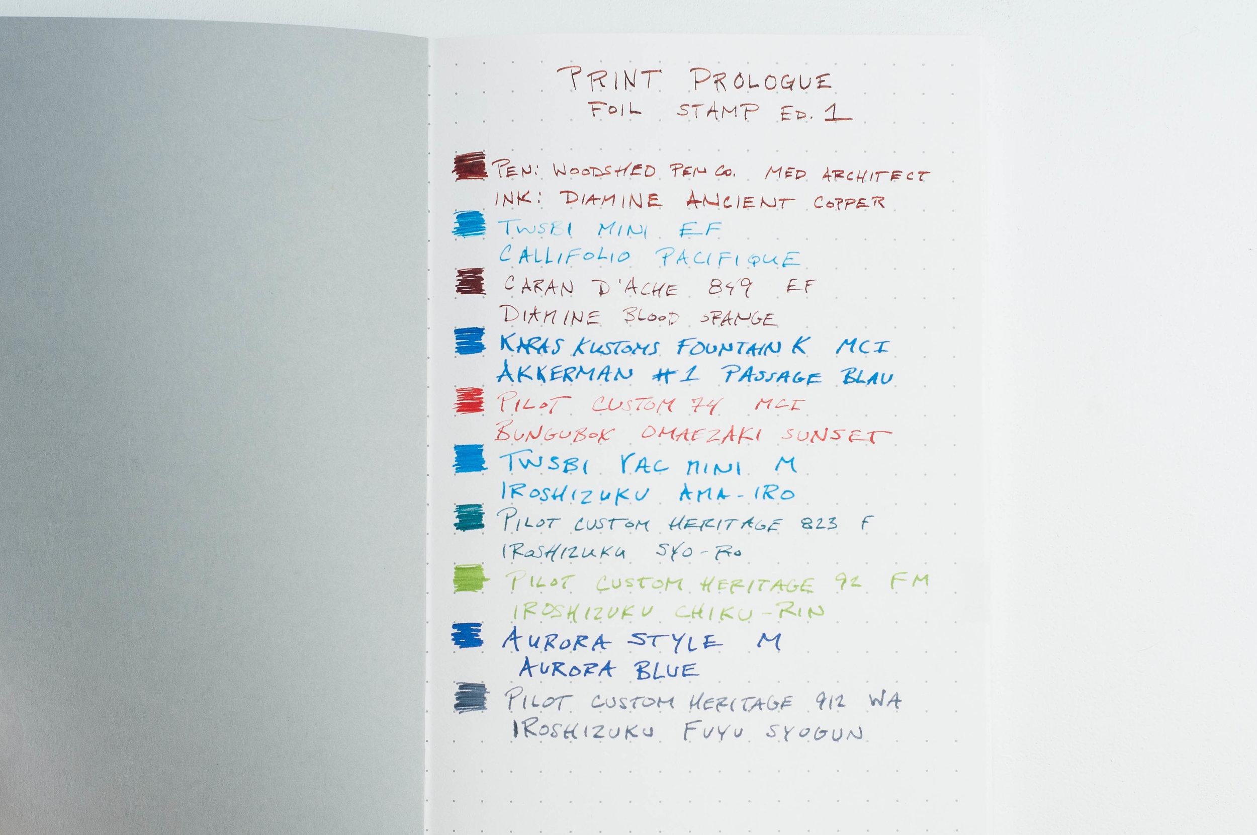 Print Prologue Notebook writing sample