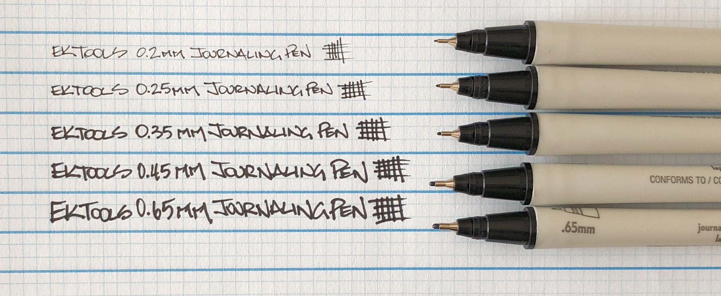 EK Tools Journaling Pen Tip Sizes