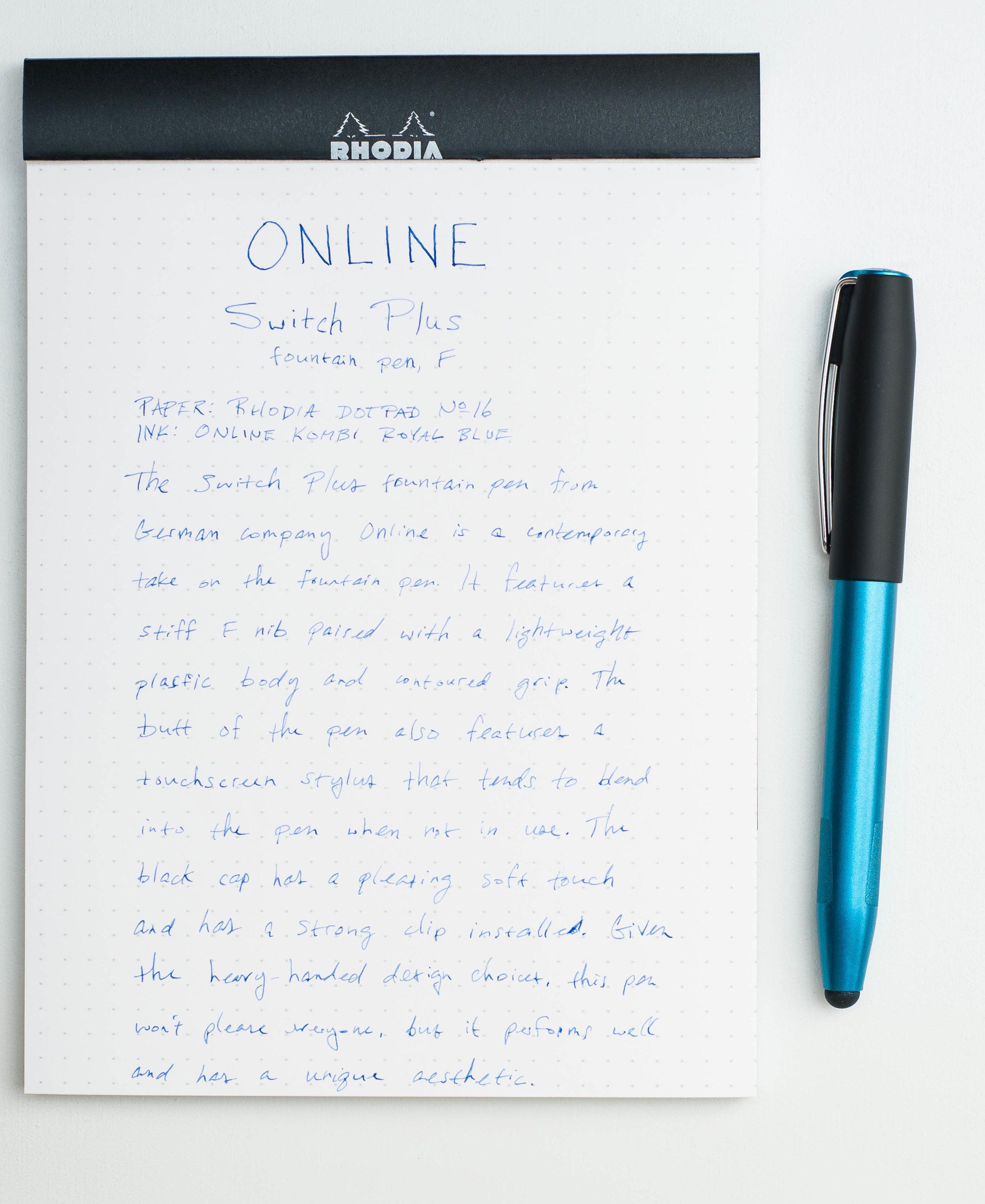 Online Switch Plus Fountain Pen Writing