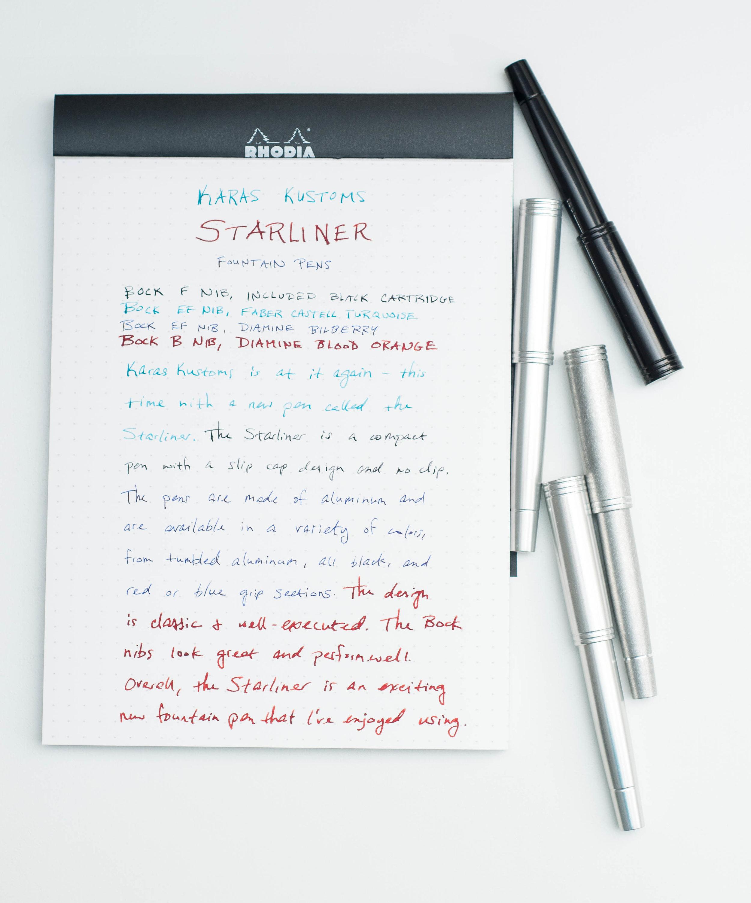 Karas Kustoms Starliner Fountain Pen Writing