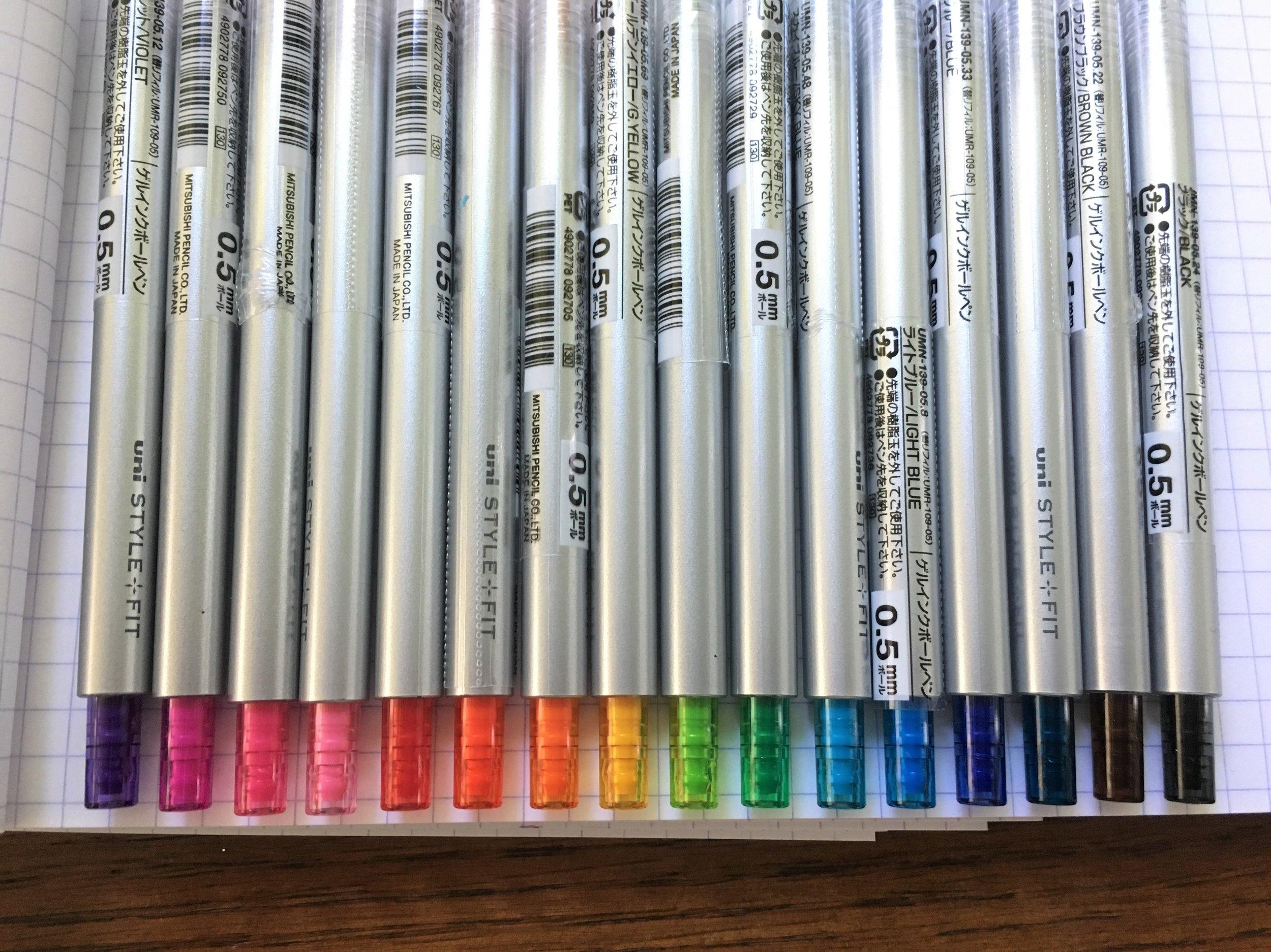 Uni Style Fit Single Color Gel Pen Set