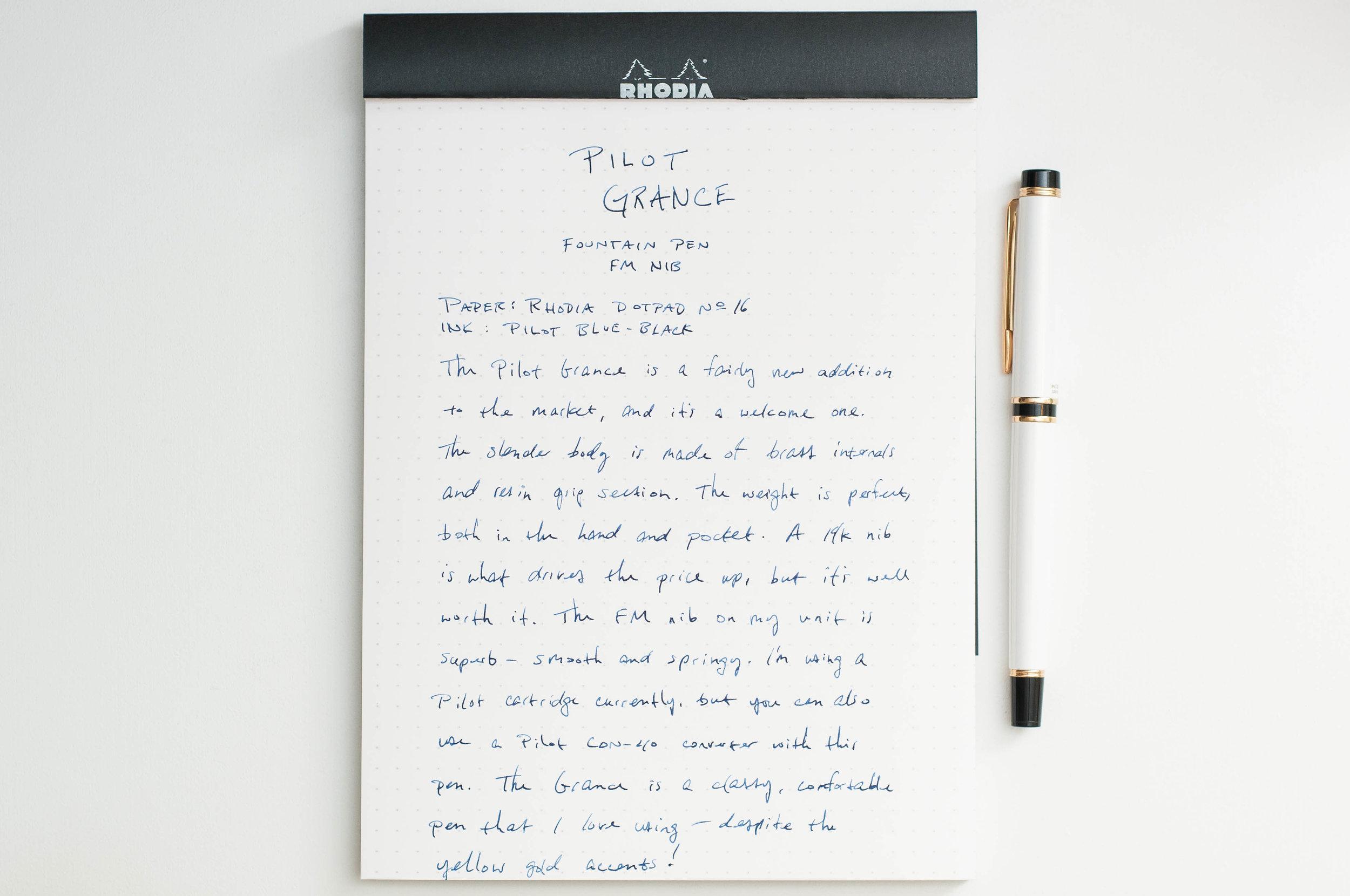 Pilot Grance Fountain Pen Writing