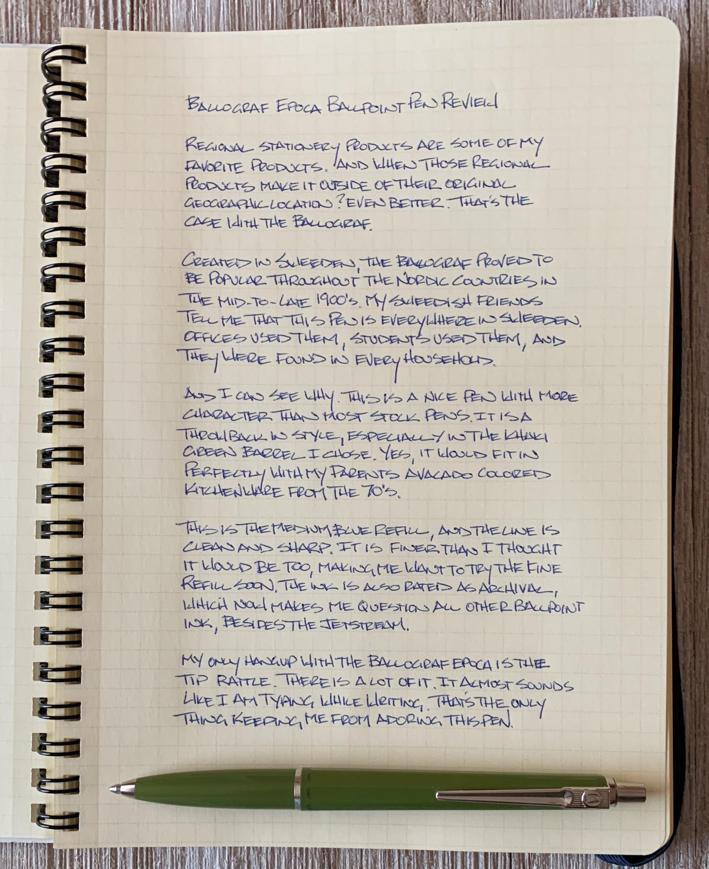 Ballograf Epoca P Ballpoint Pen Writing