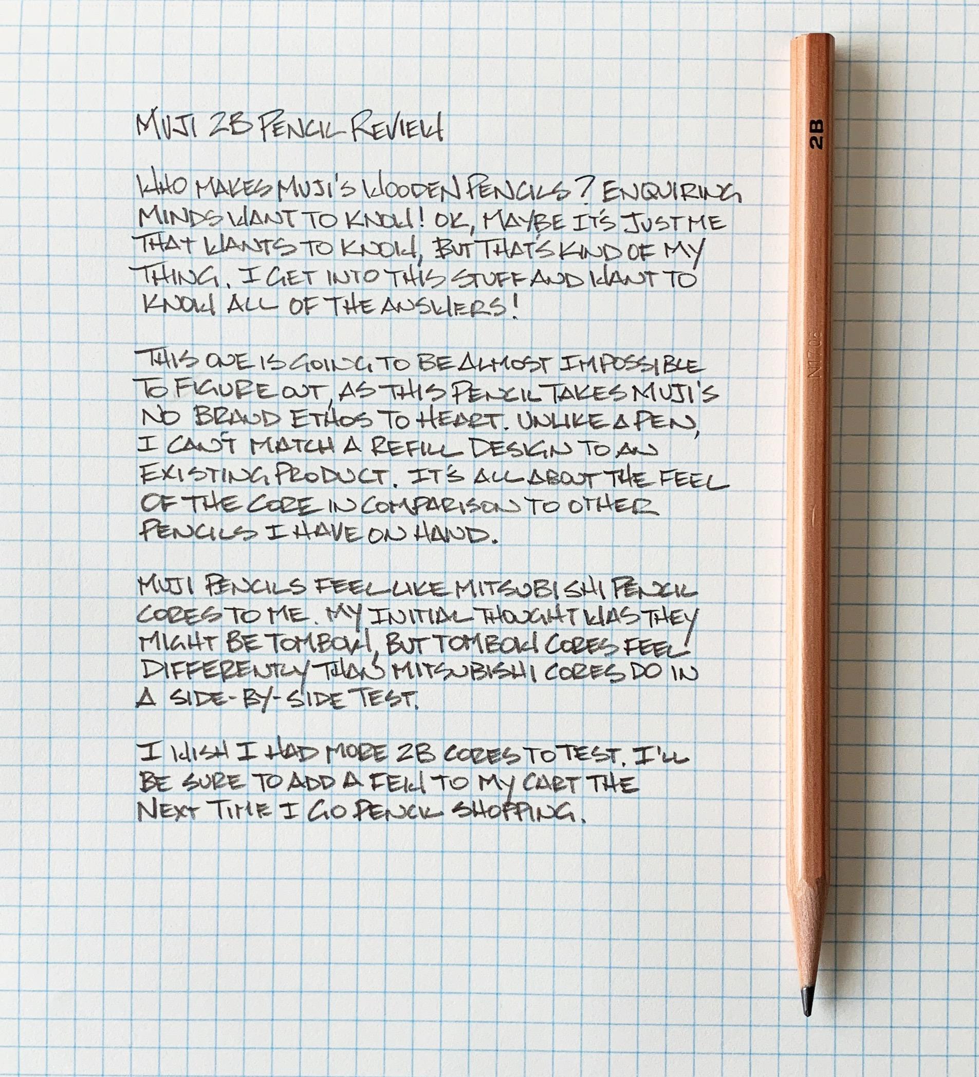 Muji 2B Pencil Writing Sample