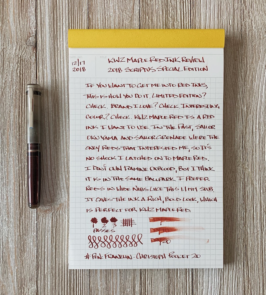 Franklin-Christoph Pocket 20 Fountain Pen Writing