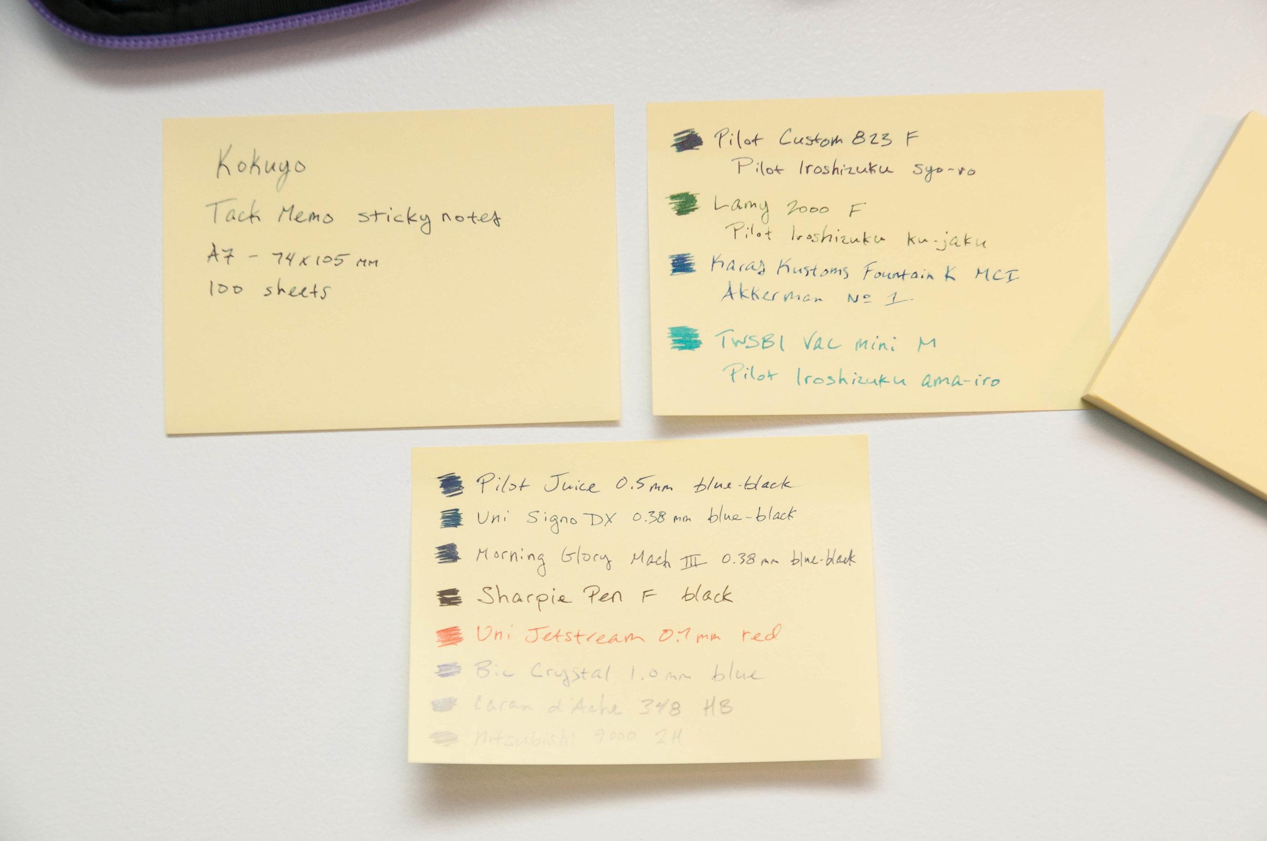 Kokuyo Tack Memo Sticky Notes Writing