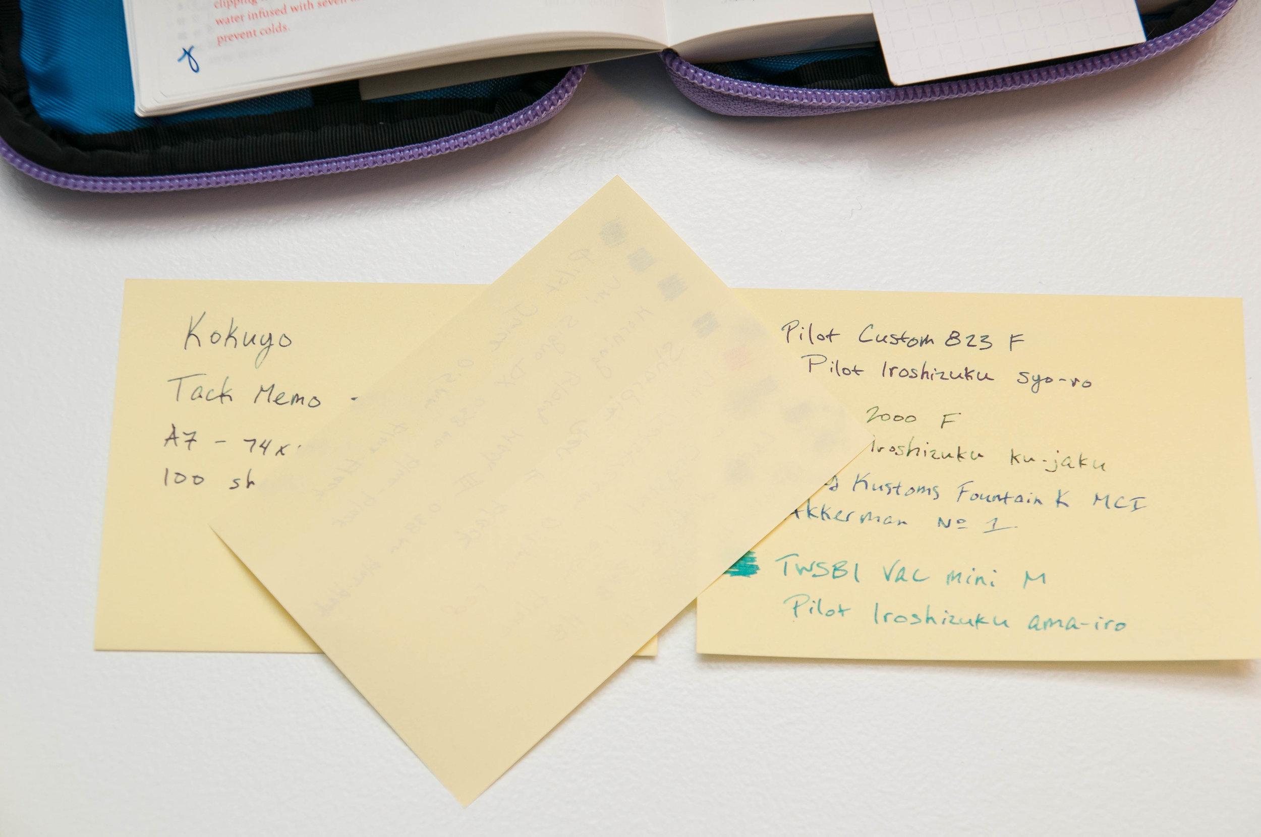 Kokuyo Tack Memo Sticky Notes Sample
